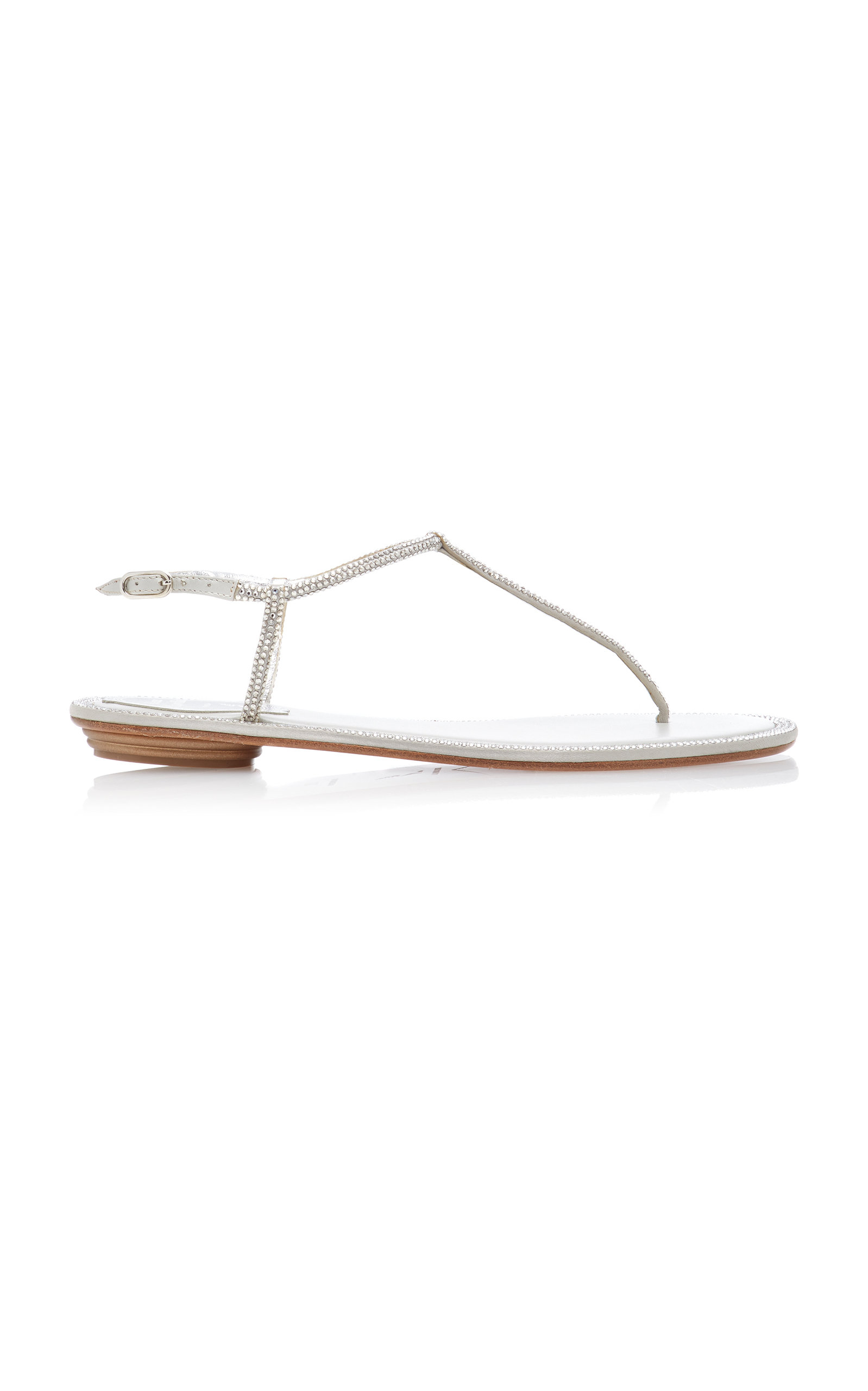 bb8d500245c8 RenÉ Caovilla Crystal-Embellished Satin Sandals In Silver