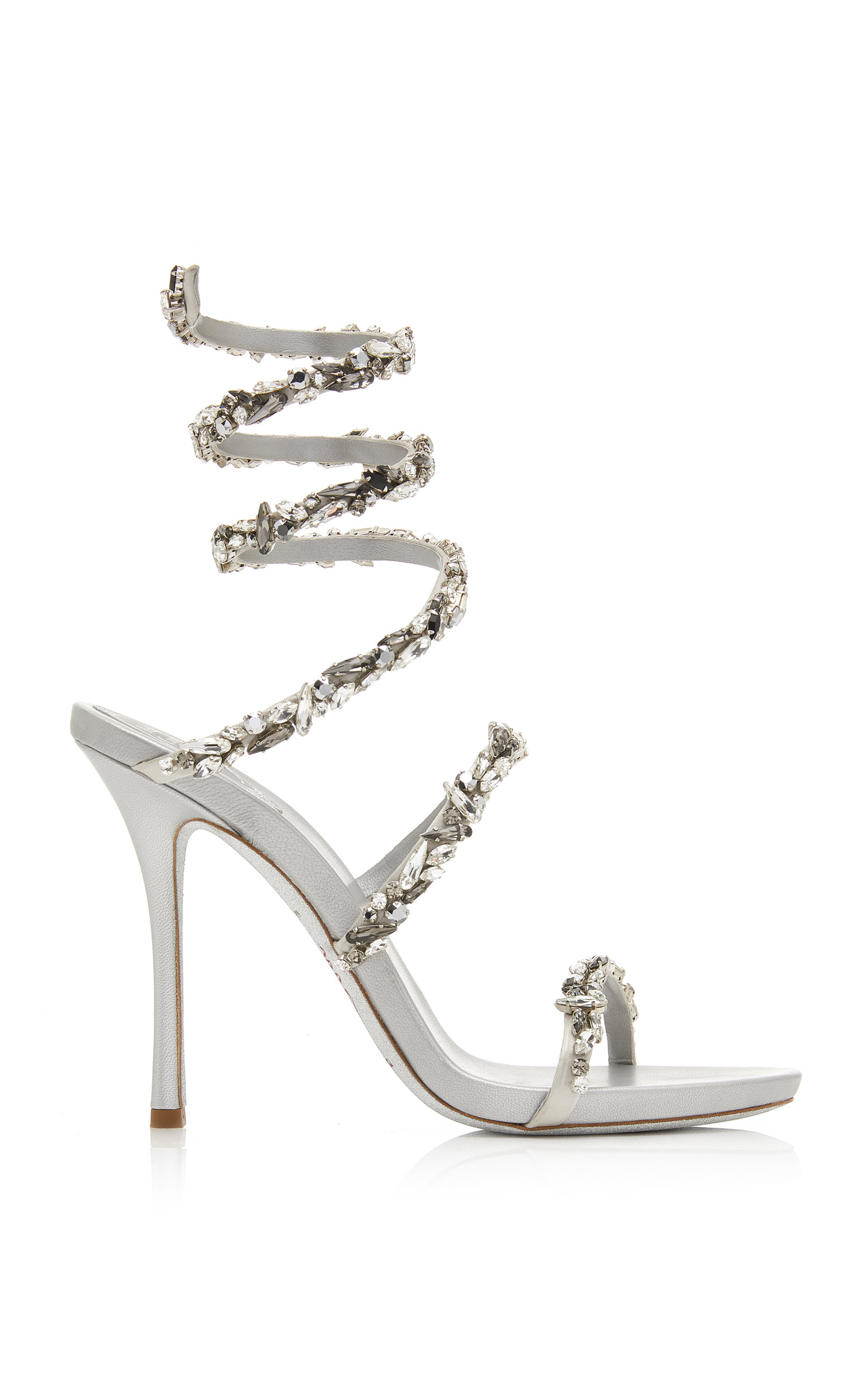 21032df1b85 Rene CaovillaCrystal-Embellished Satin Snake-Coil Sandals. CLOSE. Loading