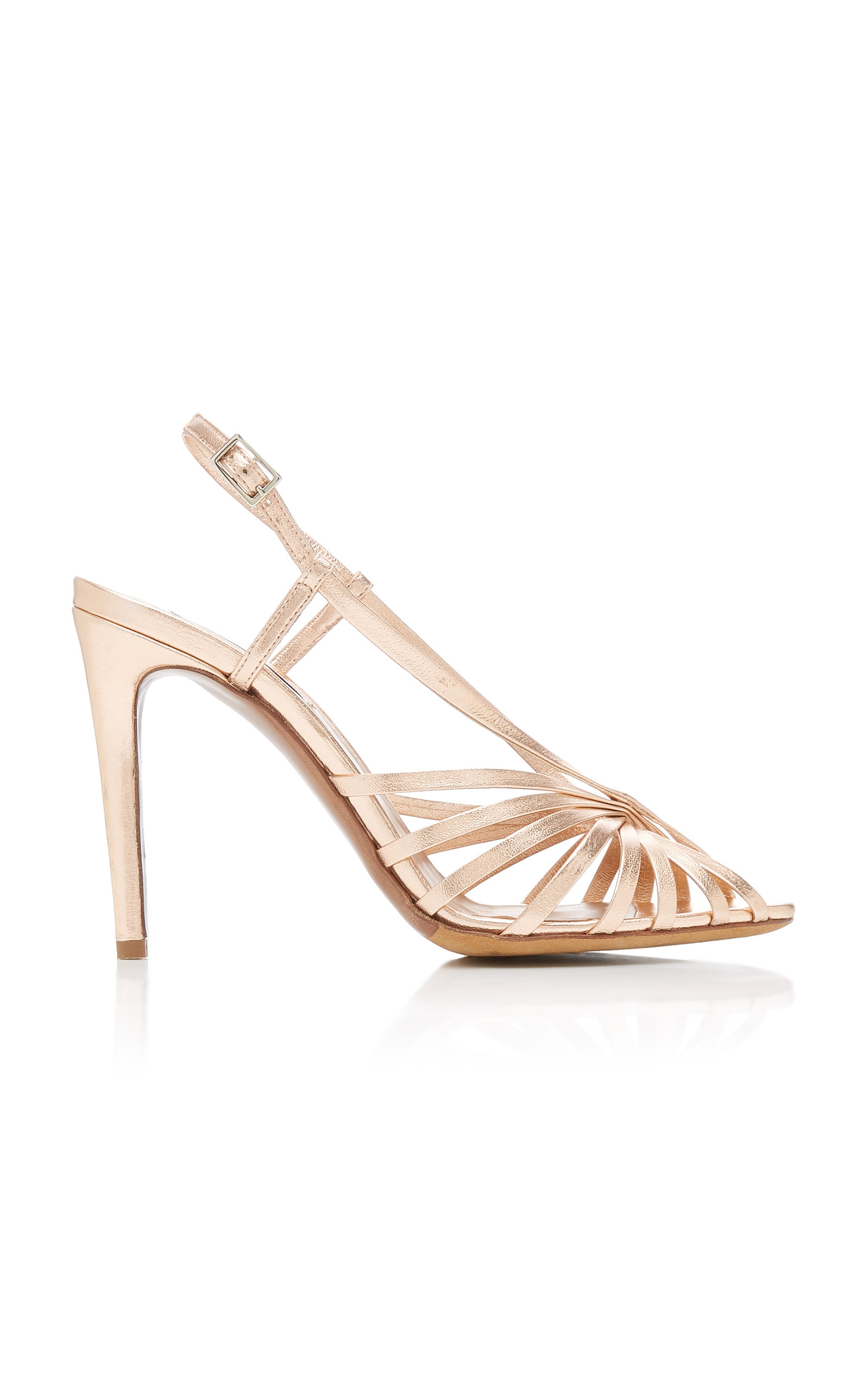 Tabitha Simmons JAZZ METALLIC LEATHER SLINGBACK SANDALS