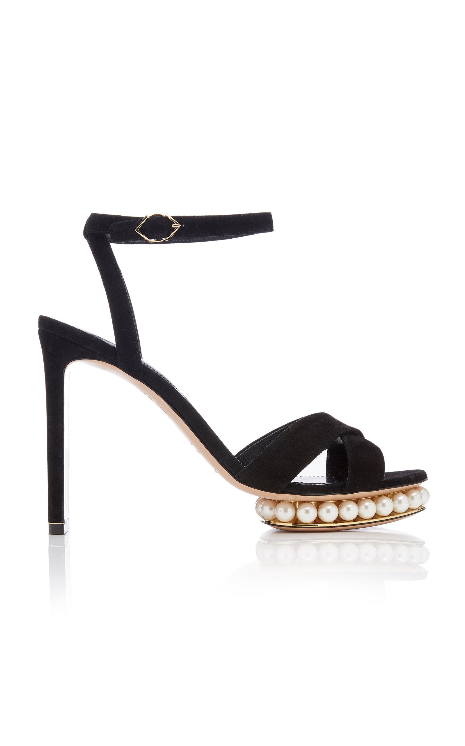 NICHOLAS KIRKWOOD | Nicholas Kirkwood Casati Embellished Leather Platform Sandals | Goxip