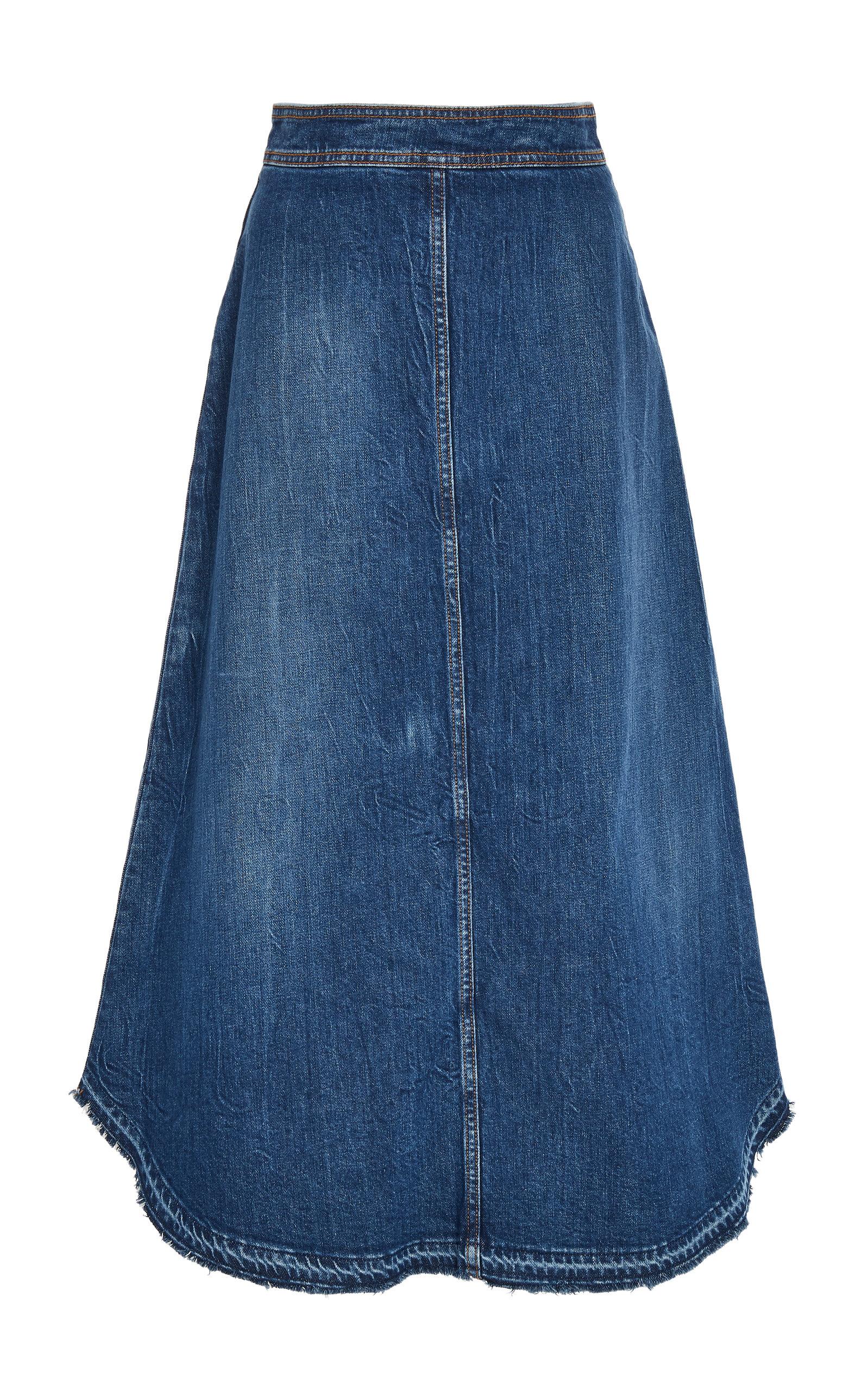 0dafc36dd Philosophy Di Lorenzo Serafini Frayed Denim Midi Skirt In Blue ...