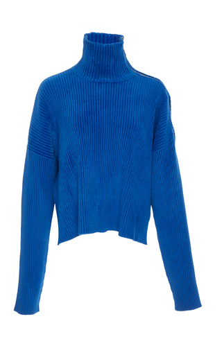 SALLY LAPOINTE | Sally LaPointe Zip-Detailed Brushed Ribbed-Knit Turtleneck Sweater | Goxip