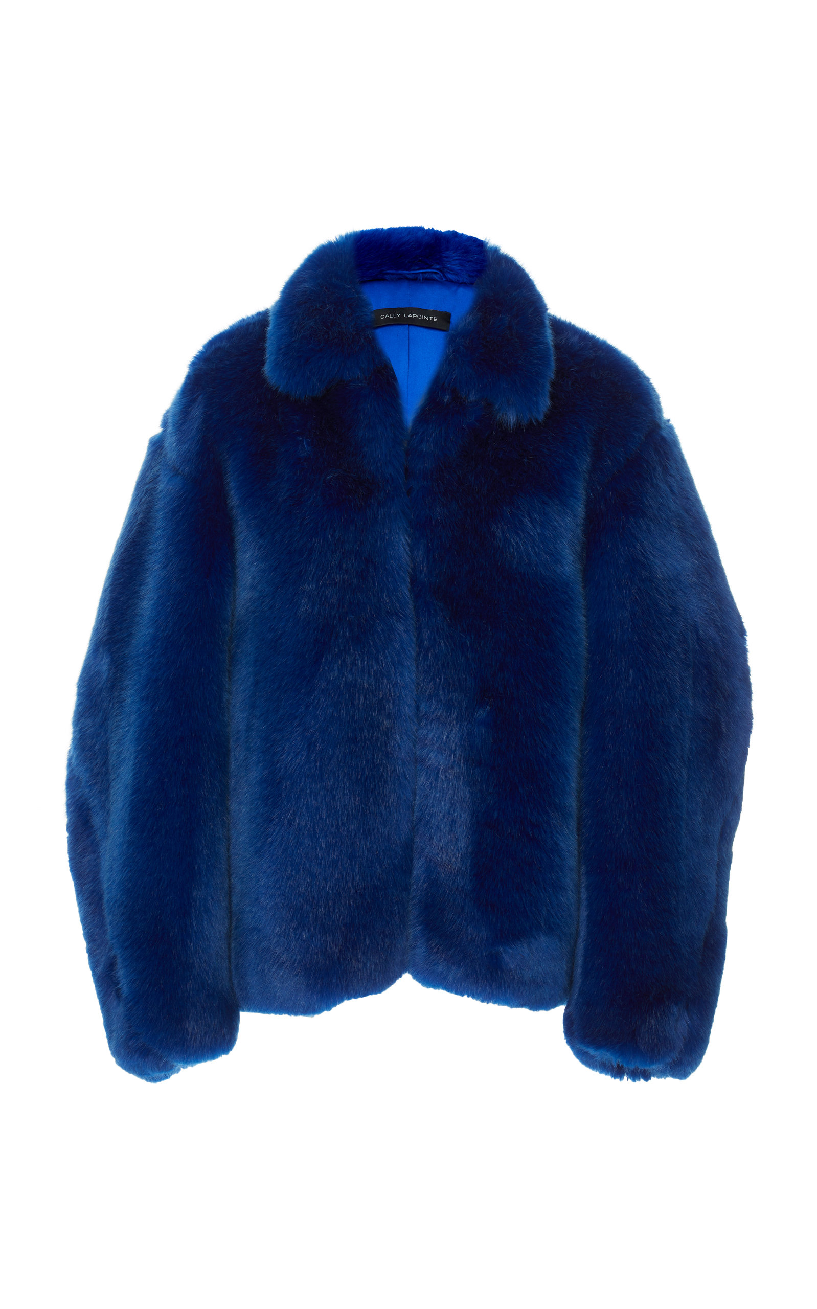 SALLY LAPOINTE Oversized Faux Fur Jacket in Cobalt Blue