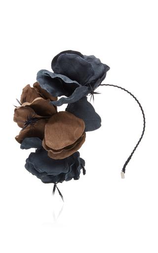 GIGI BURRIS | Gigi Burris Rosartia Feather-Trimmed Cotton-Canvas Headband | Goxip