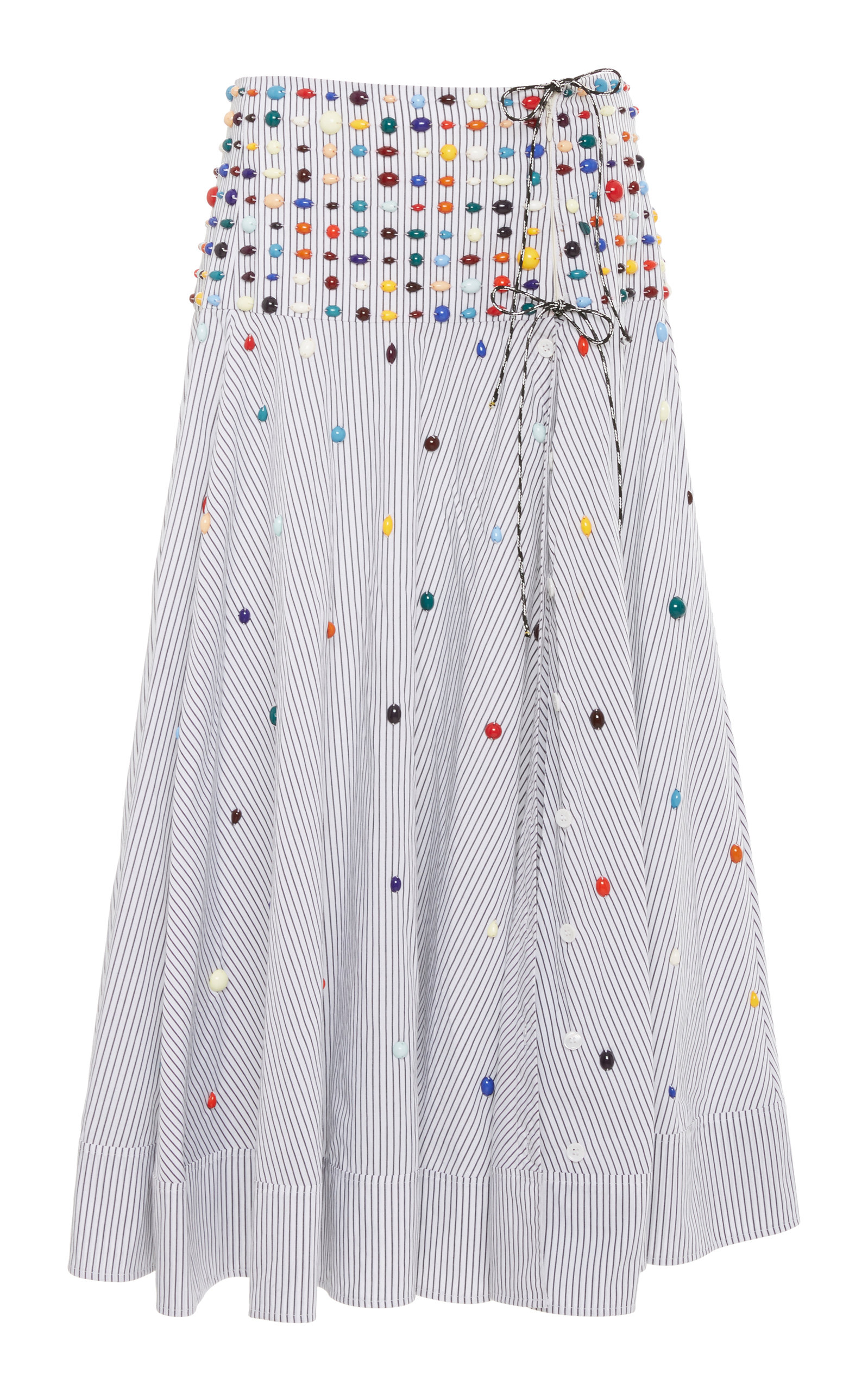 Rosie Assoulin BEADED STRIPED COTTON-POPLIN WRAP SKIRT