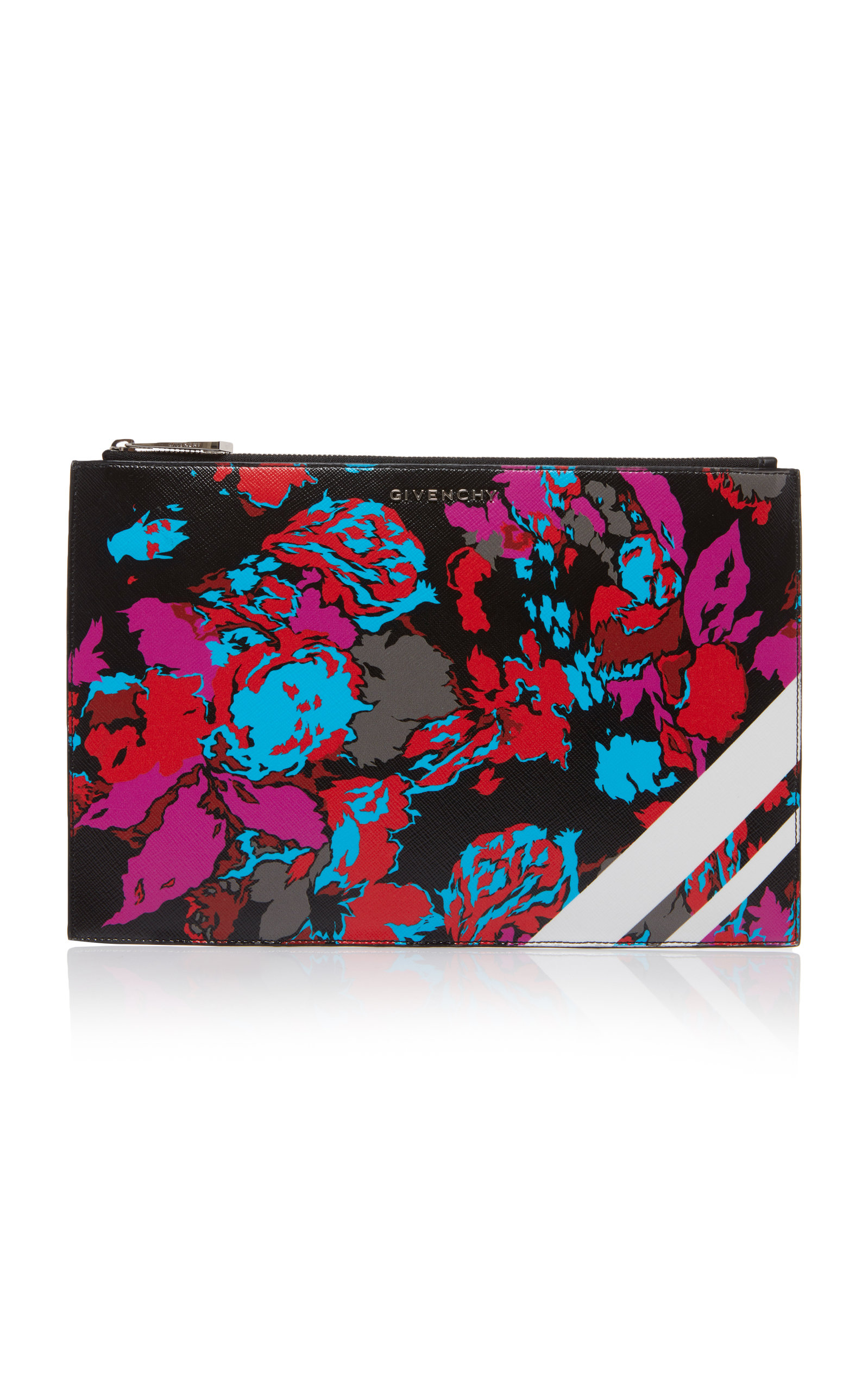 Medium Iconic Flower Print Pouch - Black in Multi