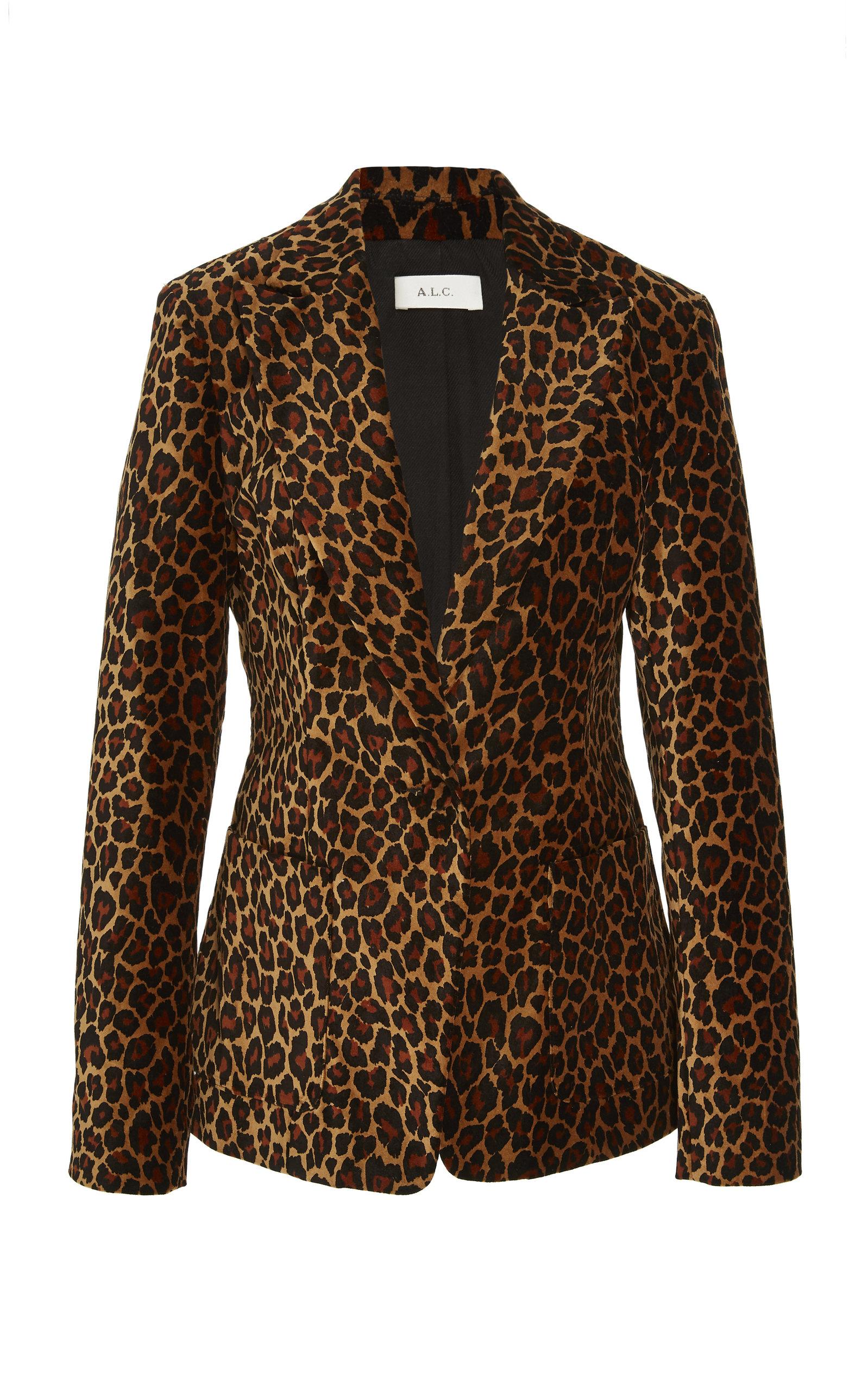 Mercer Leopard-Print Velvet Blazer Size 12 in Animal