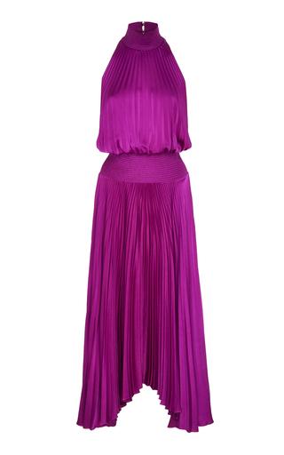 A.L.C. | A.L.C. Renzo Pleated Satin Halterneck Dress | Goxip