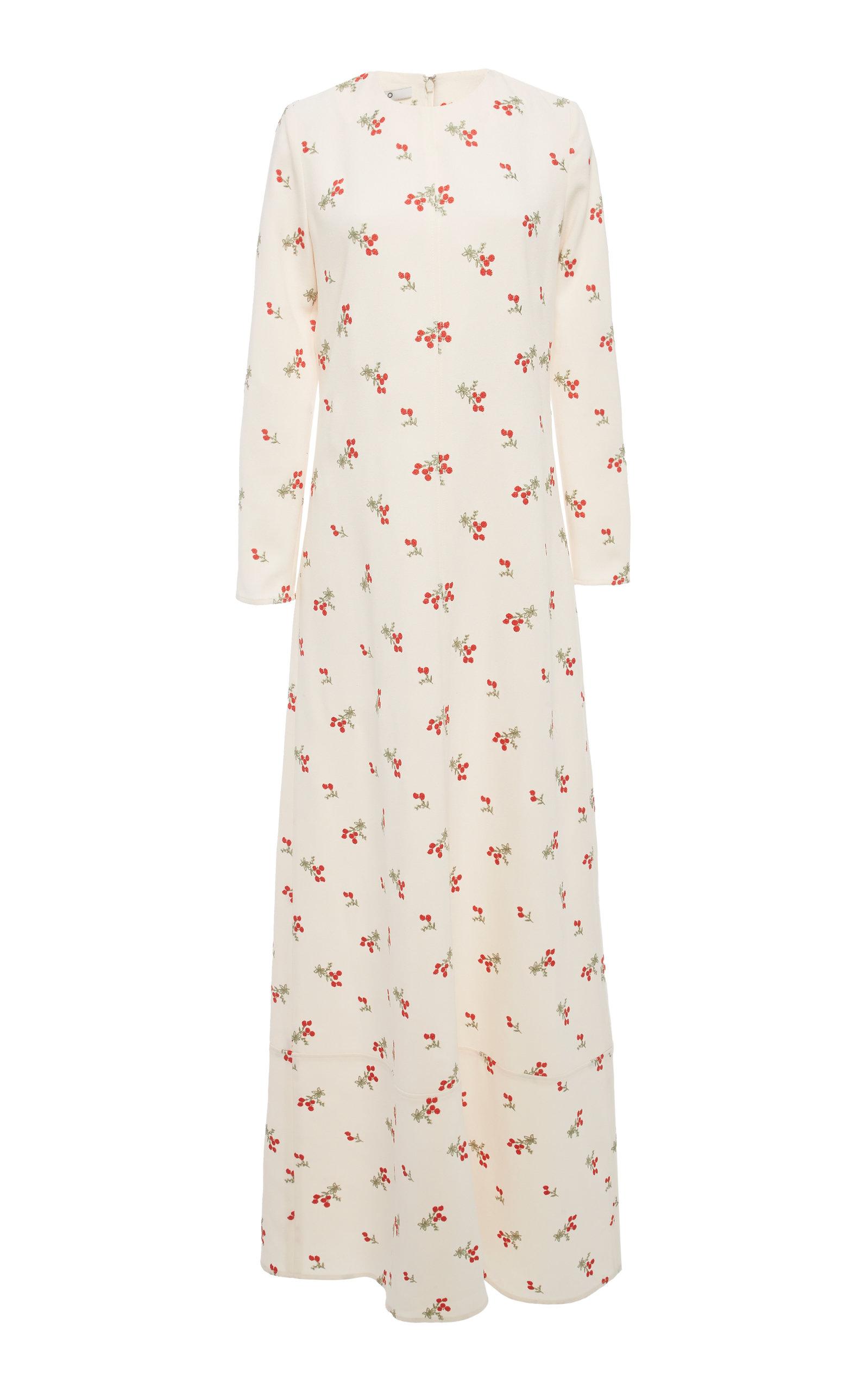 Co Maxi dresses EMBROIDERED CREPE DE CHINE MAXI DRESS