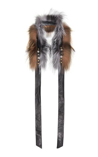 DEMARSON | DEMARSON Yana Embellished Two-Tone Fox Fur Scarf | Goxip
