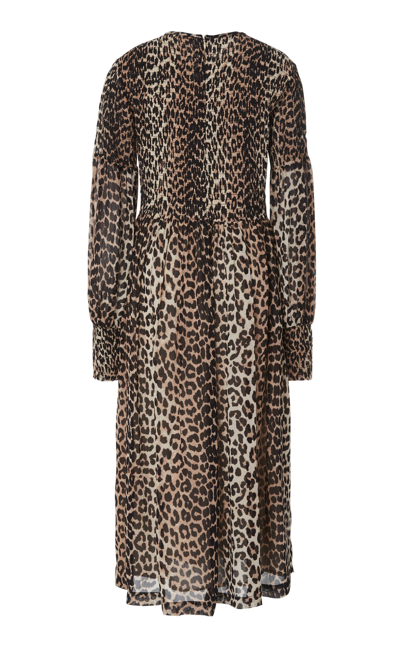 6c7a3691 GanniSmocked Leopard-Print Georgette Dress. CLOSE. Loading. Loading