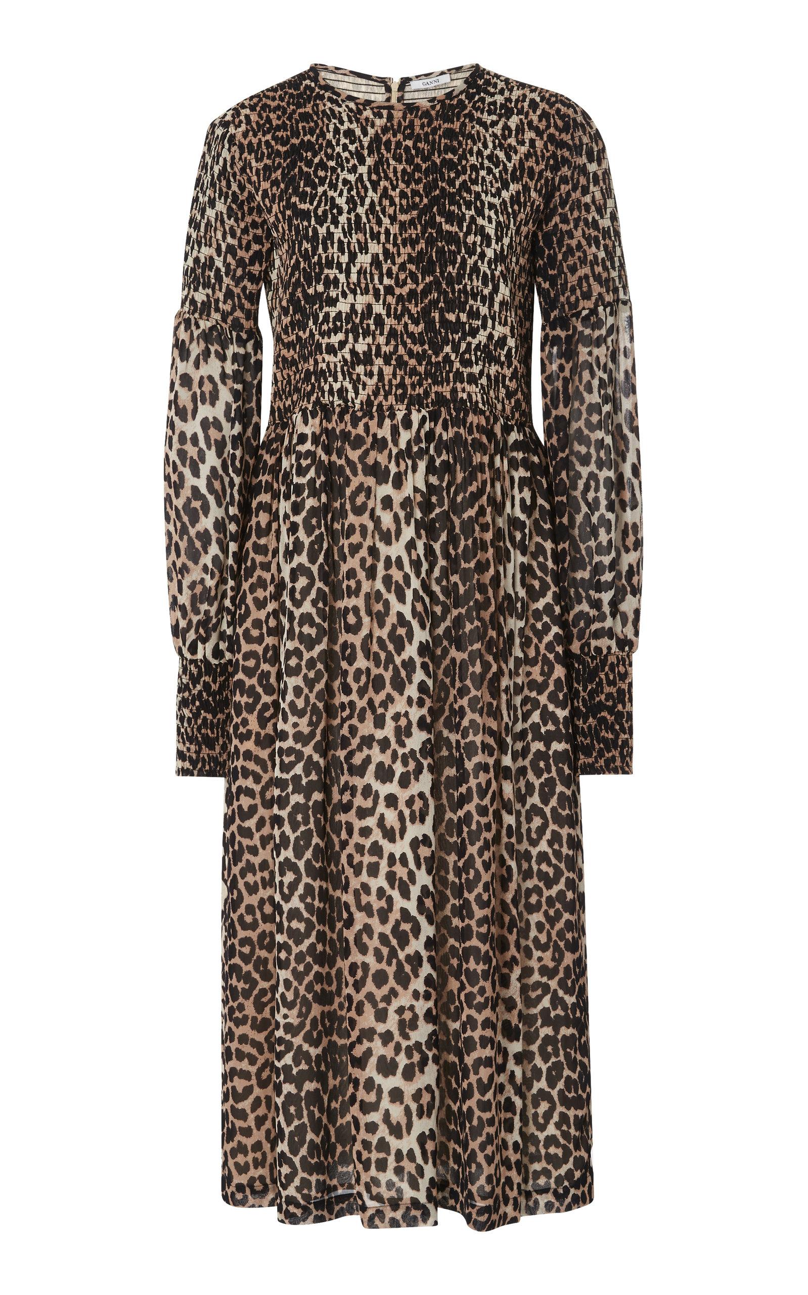 0cac8393 Smocked Leopard-Print Georgette Dress by Ganni   Moda Operandi