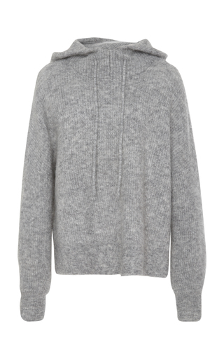 GANNI | Ganni Ribbed Wool-Blend Hooded Top | Goxip