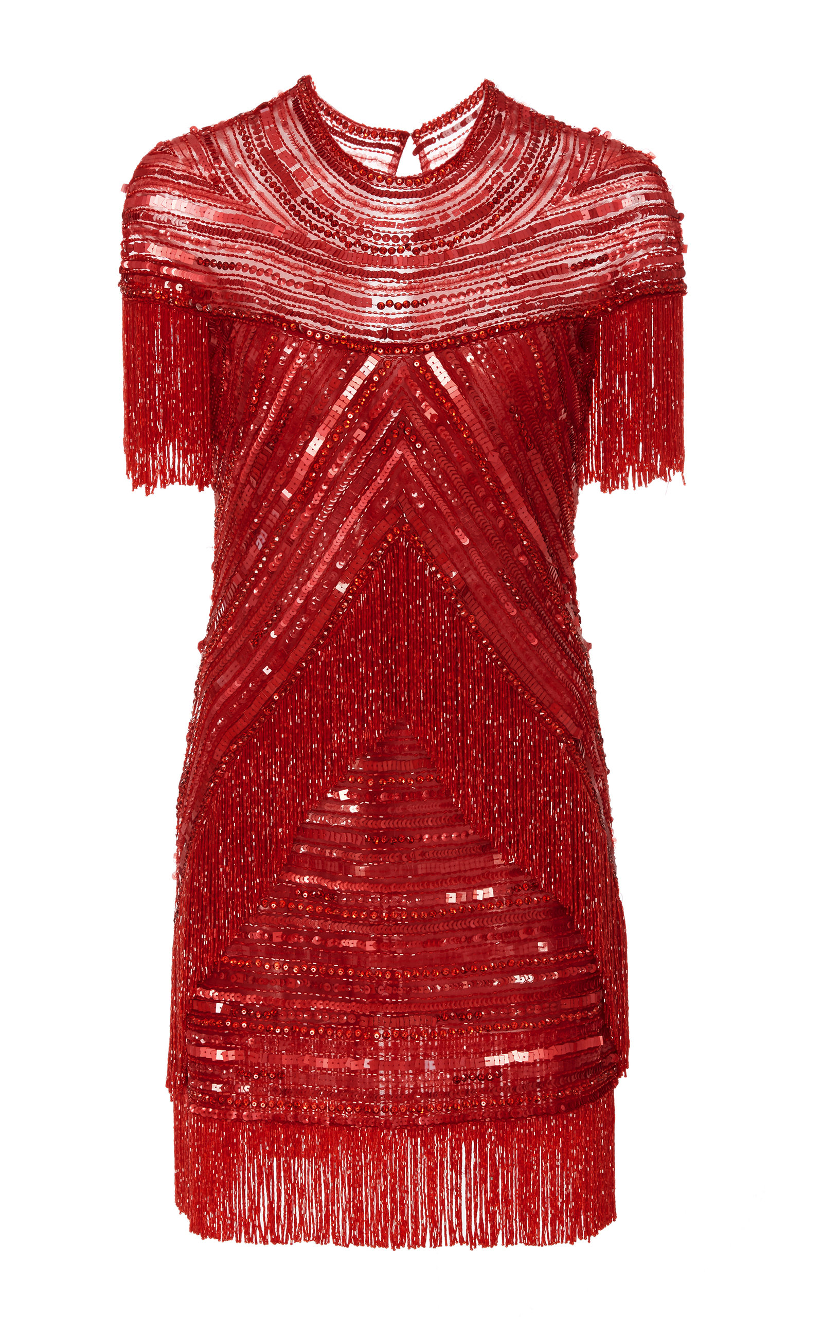 18df3c7ecf88 Naeem Khan Embellished Fringe Mini Dress In Red | ModeSens