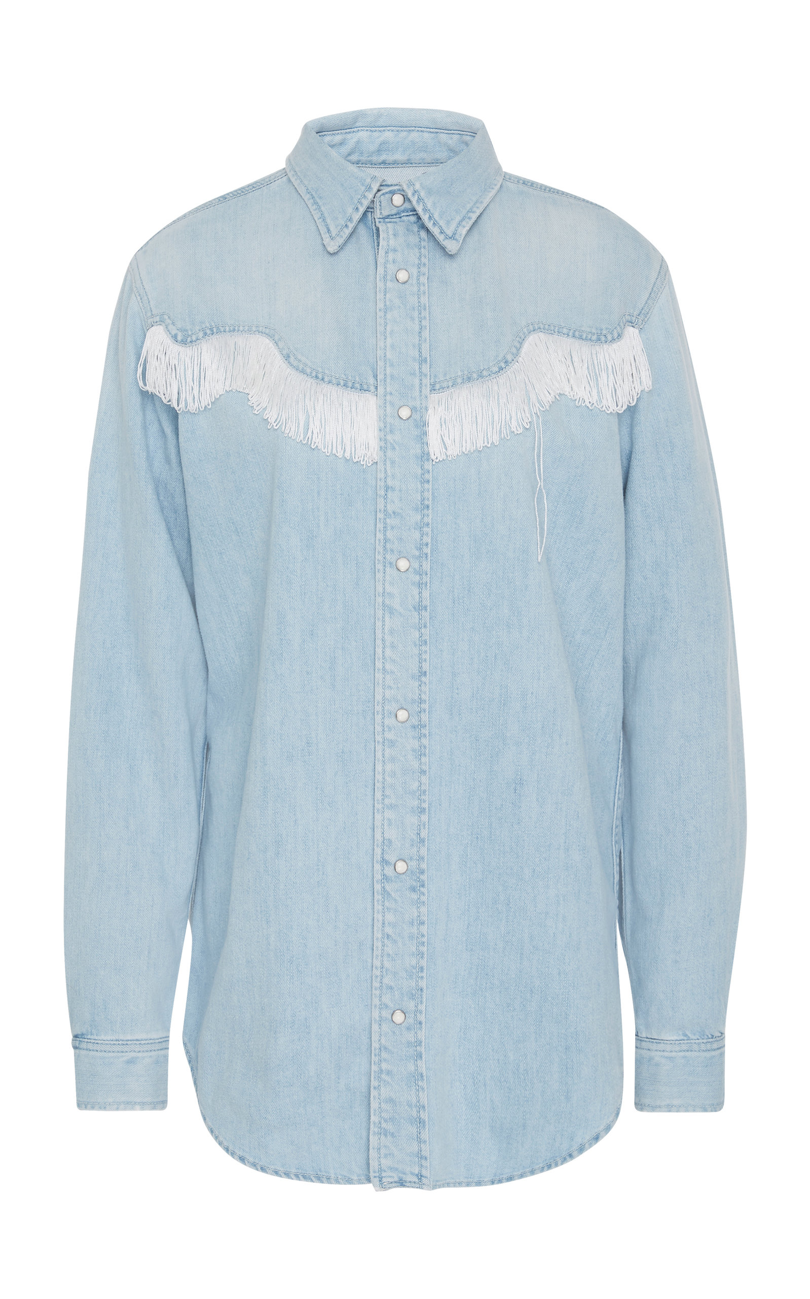 335ac472fe6 Ganni Soft Denim Fringe Shirt Light Blue Denim