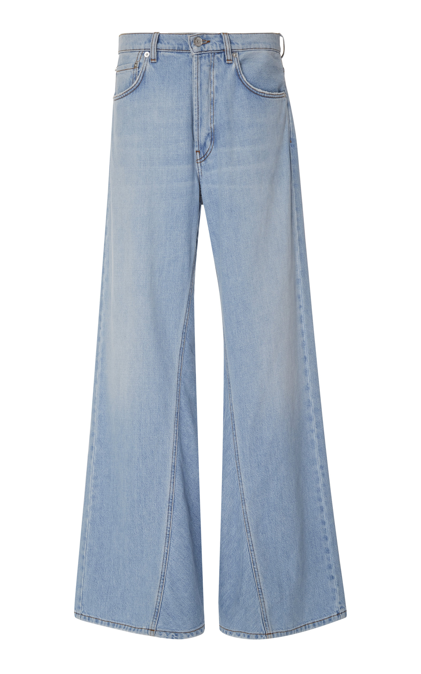 GANNI | Ganni High-Rise Bleach Wide-Leg Jeans | Goxip