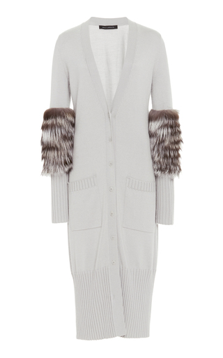 SALLY LAPOINTE | Sally LaPointe Fur-Trimmed Cashmere And Silk-Blend Cardigan | Goxip