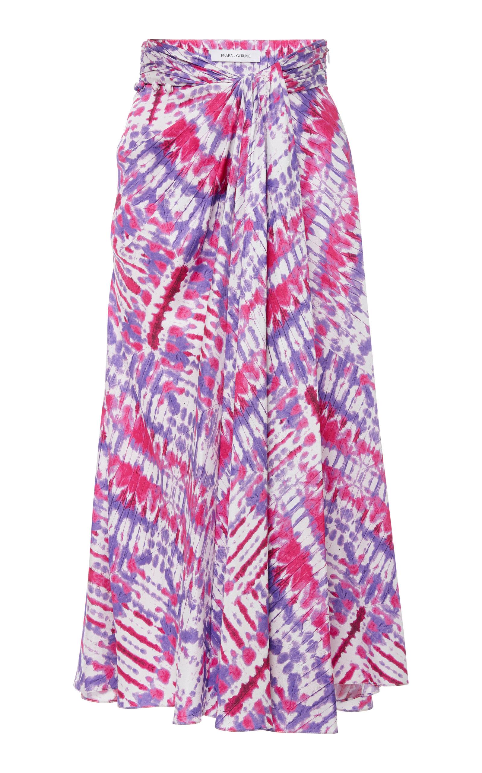 PRABAL GURUNG Wrap-Waist Tie-Dye Midi Skirt in Purple