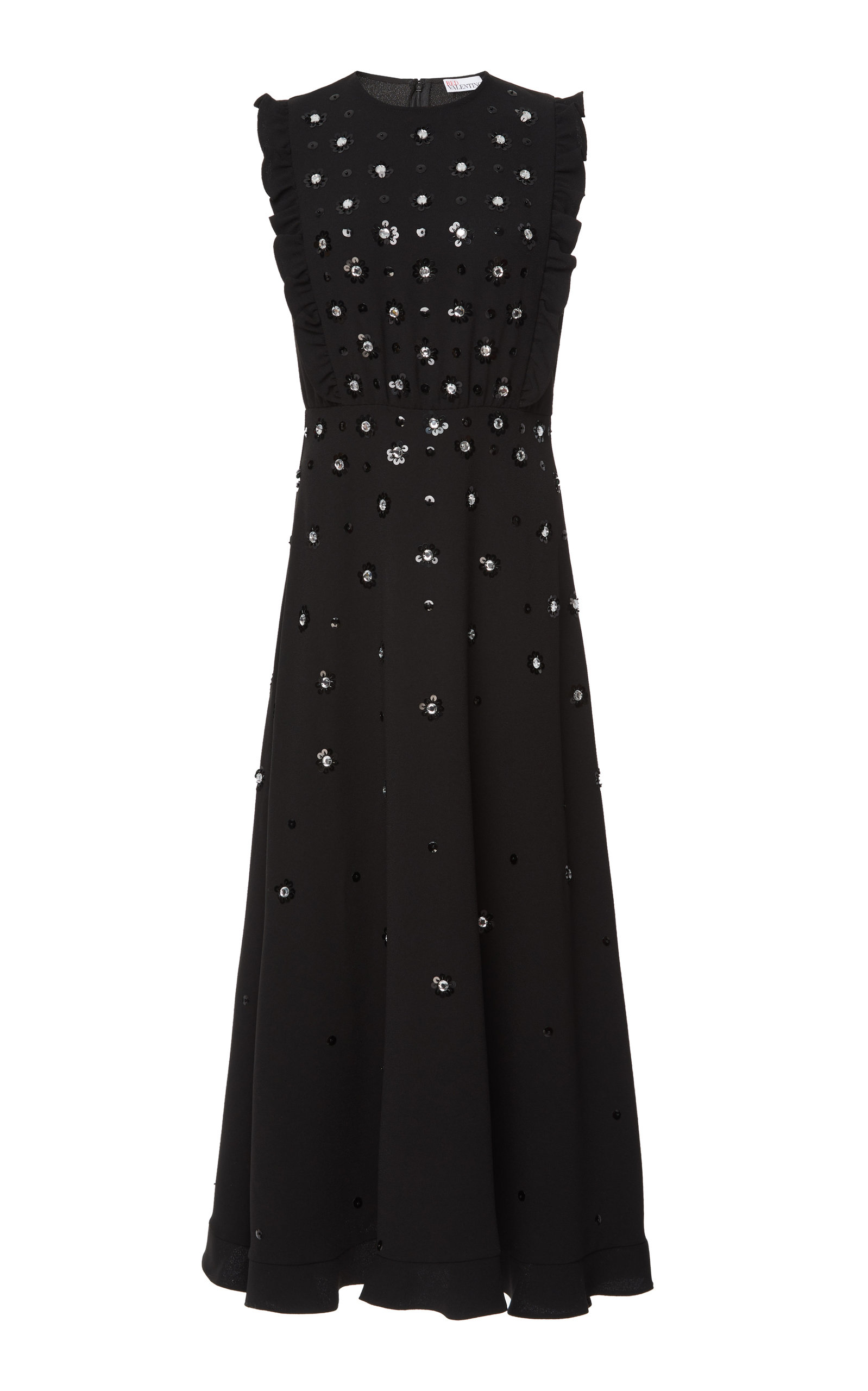 Red Valentino Dresses SEQUINS FLOWER EMBROIDERY DRESS