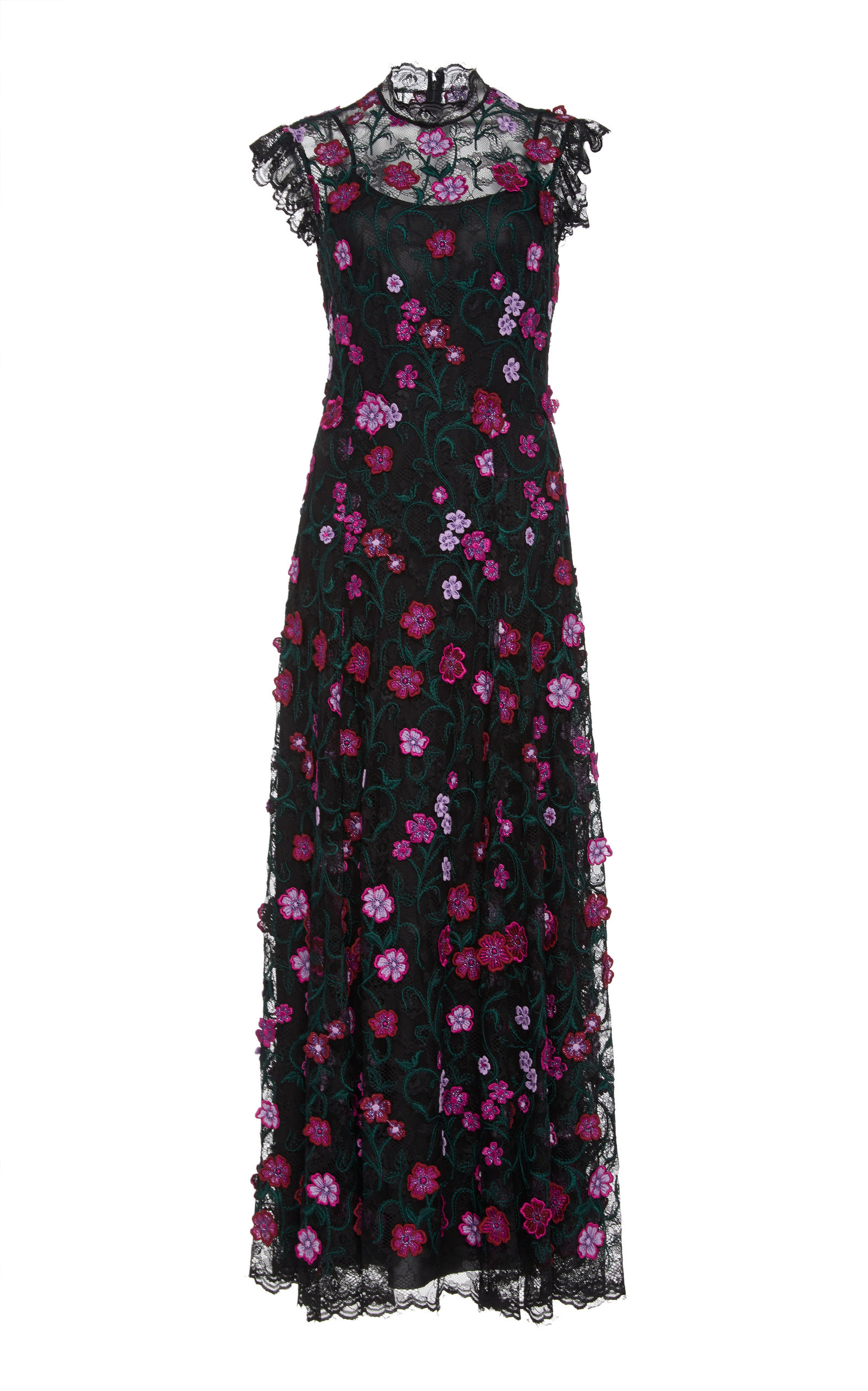 LELA ROSE High-Neck Sleeveless A-Line Long Floral-Lace Evening Dress in Pink