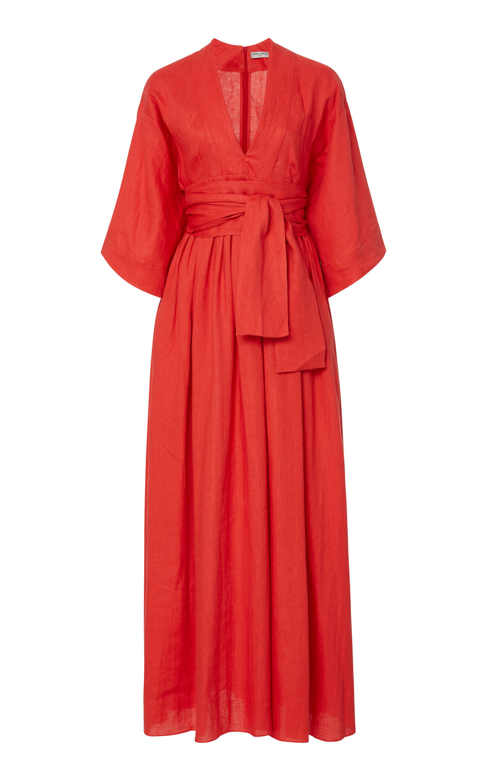 THREE GRACES LONDON | Three Graces London Ferrers Belted Linen Midi Dress | Goxip