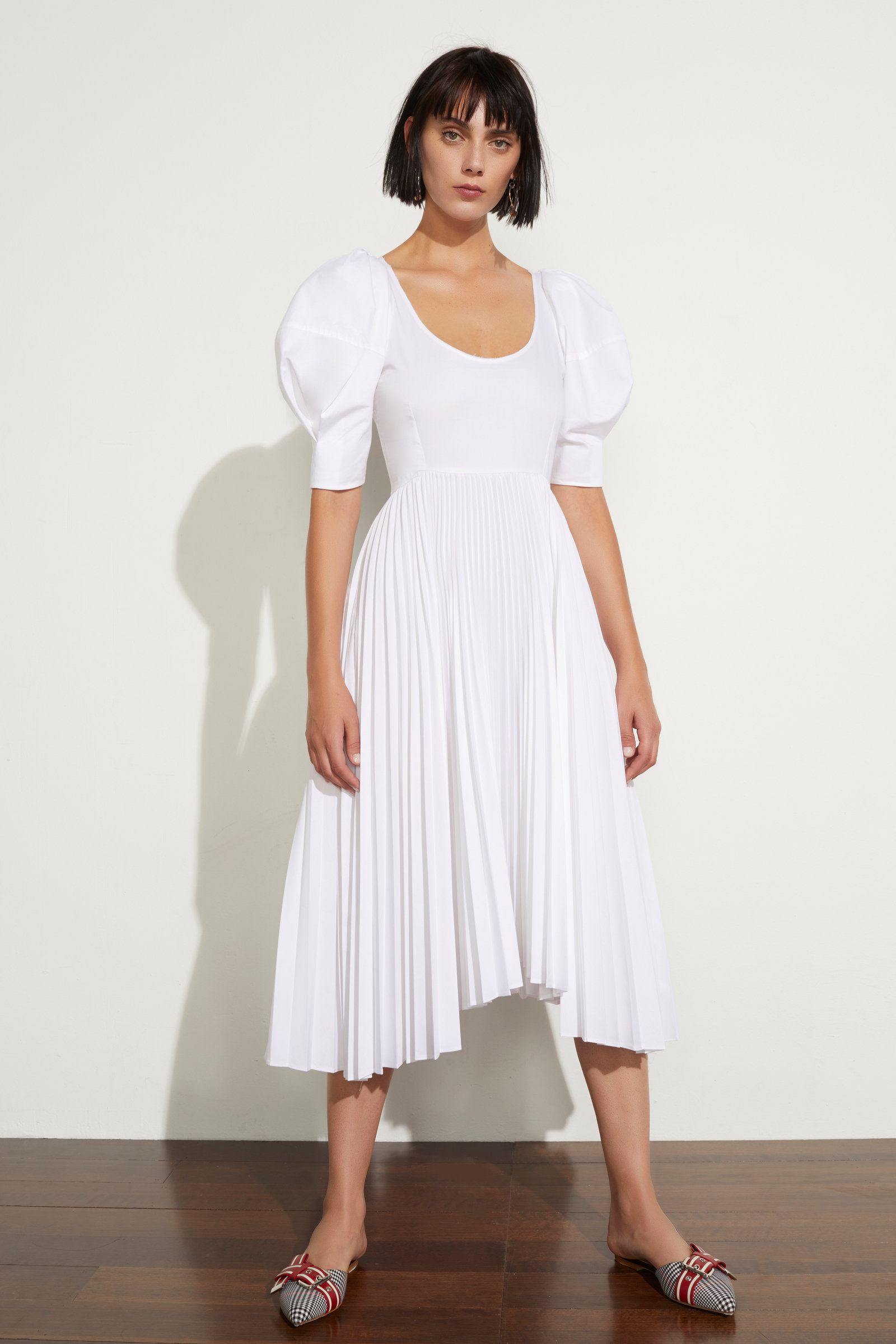 Caitlin Pleated Cotton Dress Khaite MeJ1L