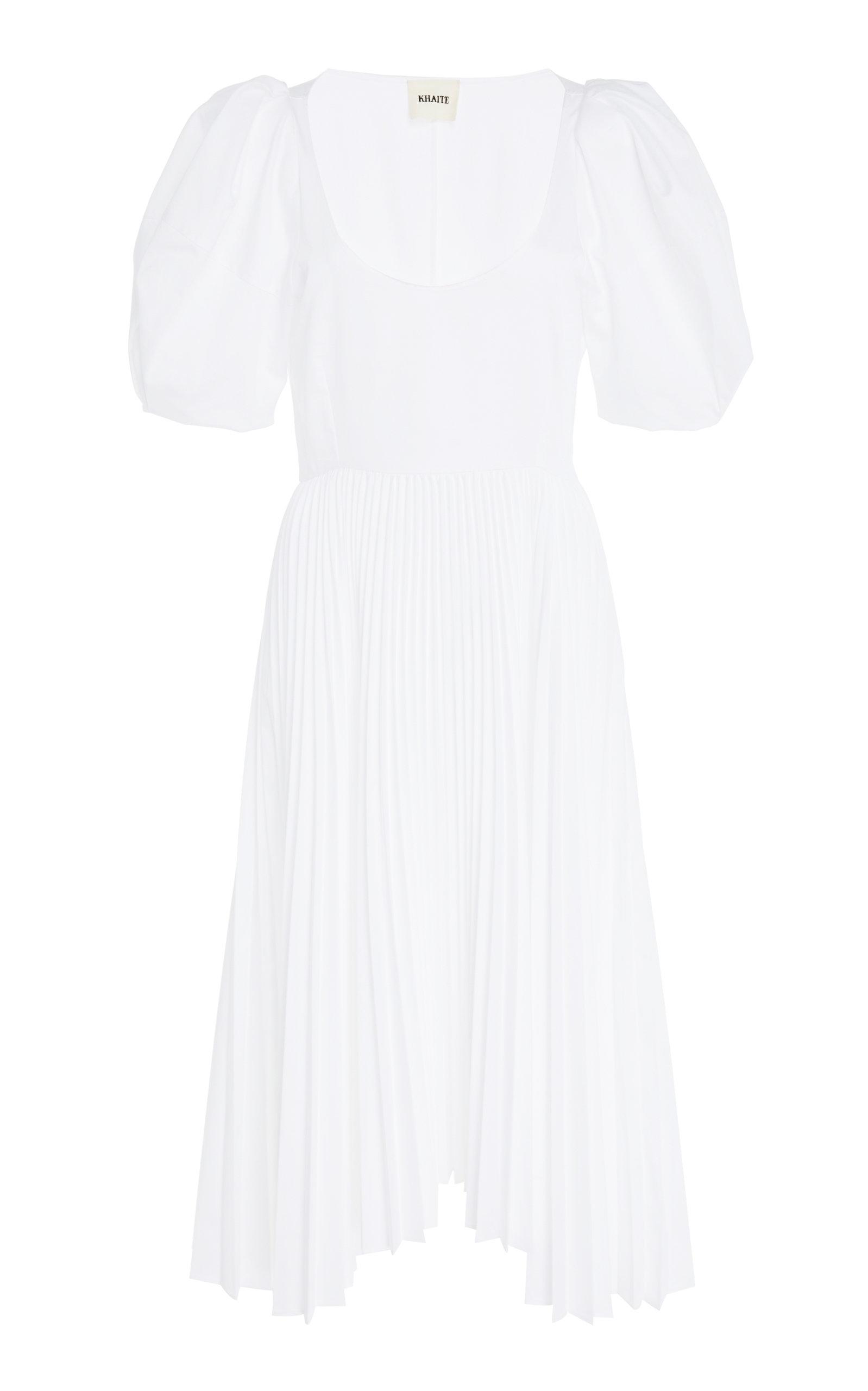 Caitlin Pleated Cotton Dress Khaite MituLmODl