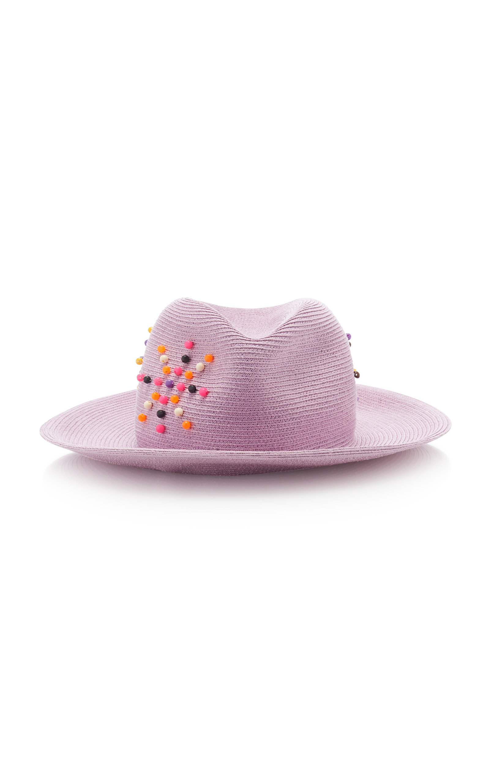 ALBERTUS SWANEPOEL M'O Exclusive Magriet Embellished Straw Hat in Purple