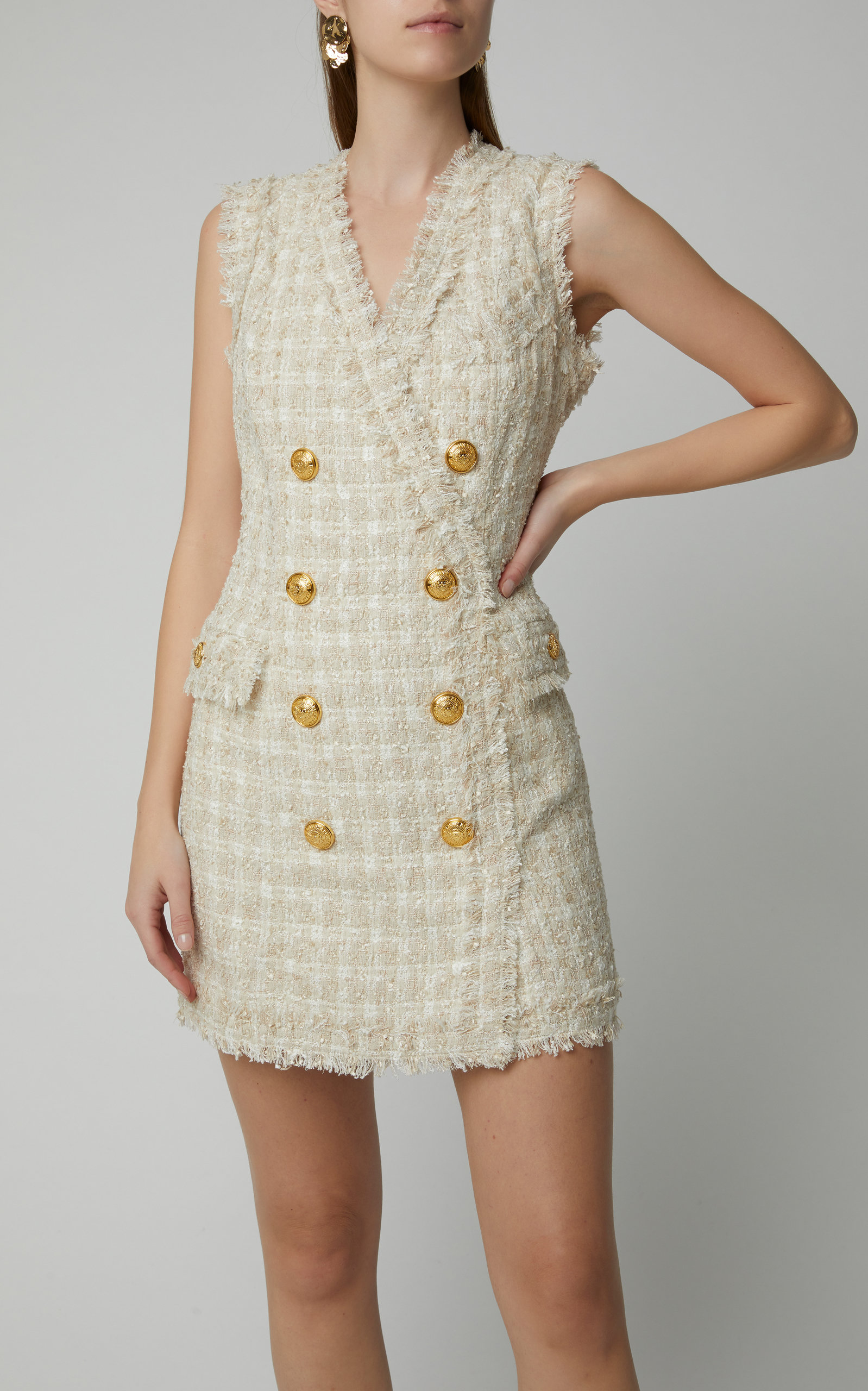 71d5f843 Double-Breasted Tweed Mini Dress by Balmain | Moda Operandi