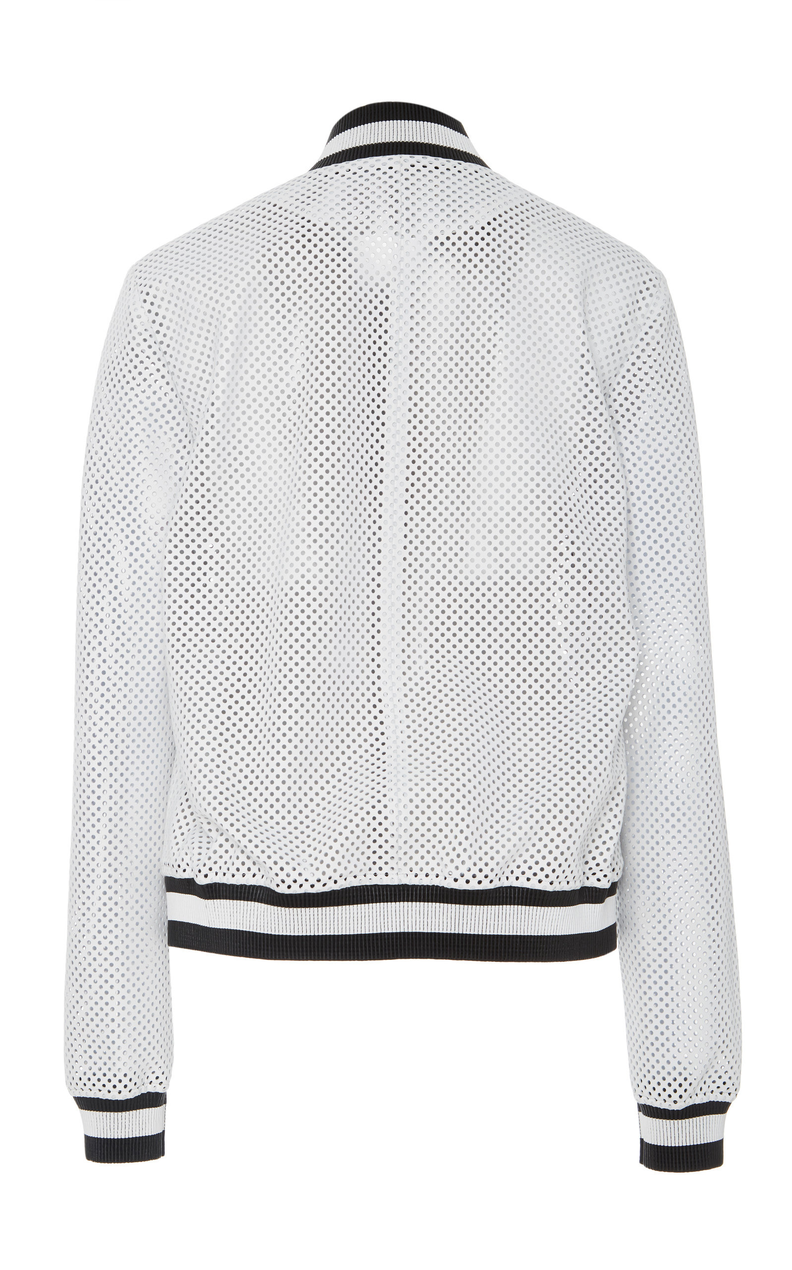 1804279a33c6 Michael Kors CollectionStriped Perforated Leather Bomber Jacket. CLOSE.  Loading. Loading