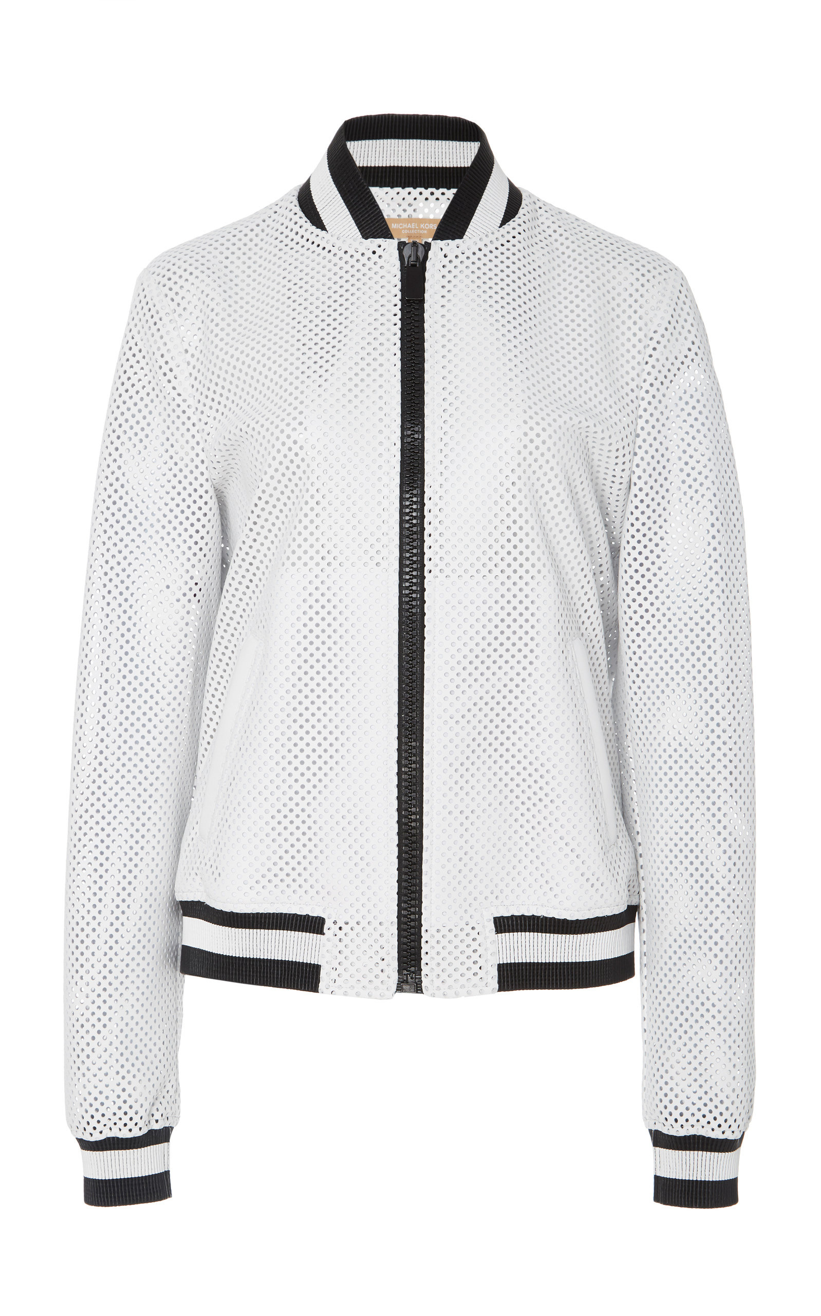 89a4edd03949 Michael Kors CollectionStriped Perforated Leather Bomber Jacket. CLOSE.  Loading