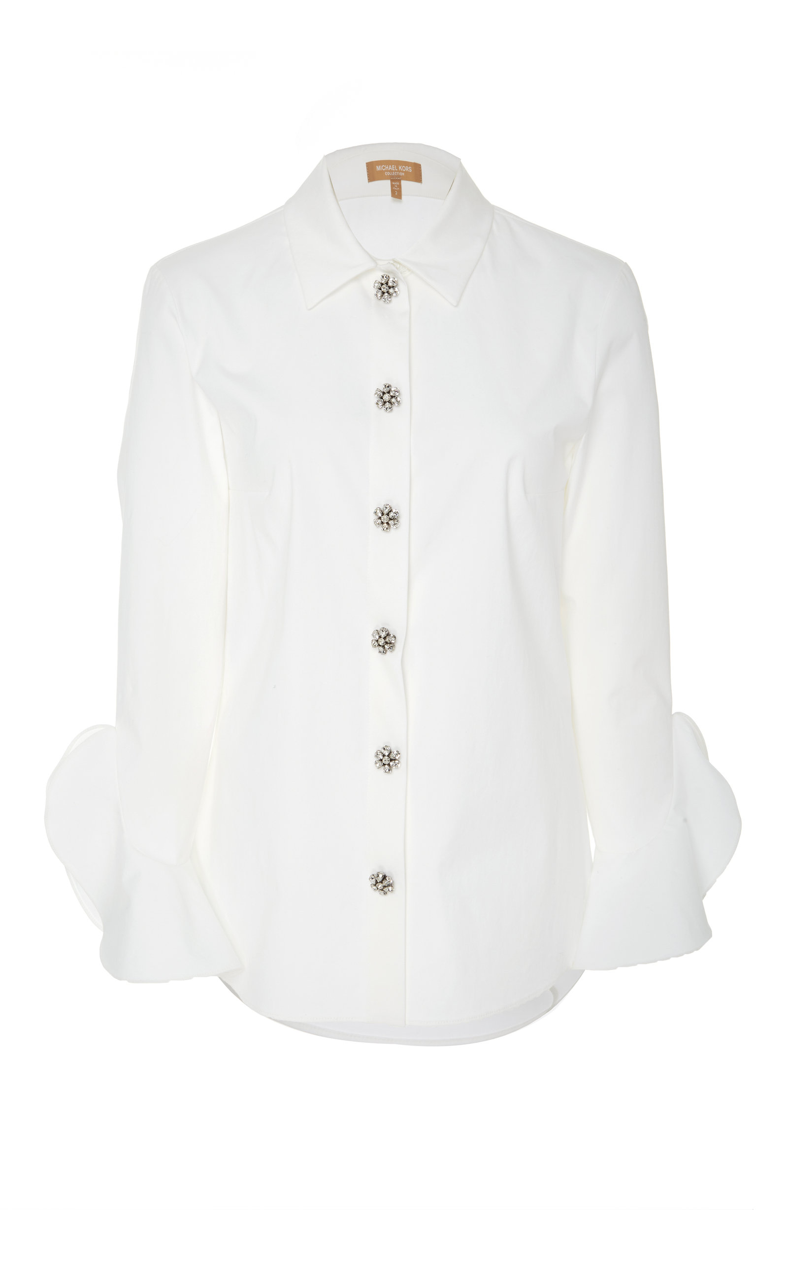 MICHAEL KORS Jewel-Buttons Long-Sleeve Classic Stretch-Poplin Shirt in White