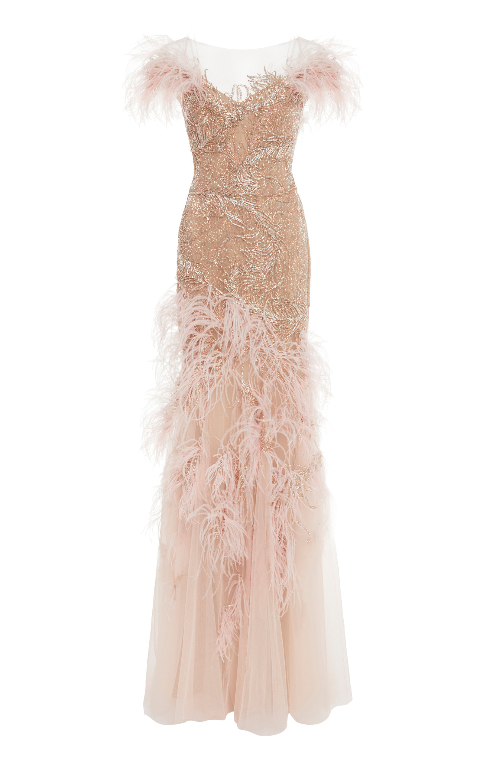 One Shoulder Feather Dress