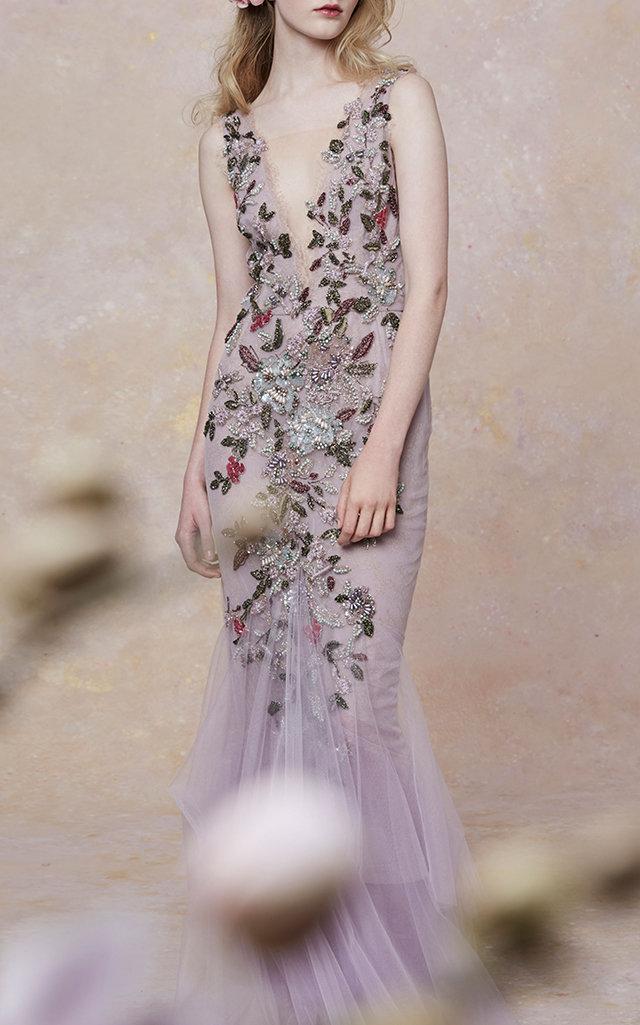 Plunging Neckline Embroidered Dragonfly Gown Marchesa X1RyBiWo