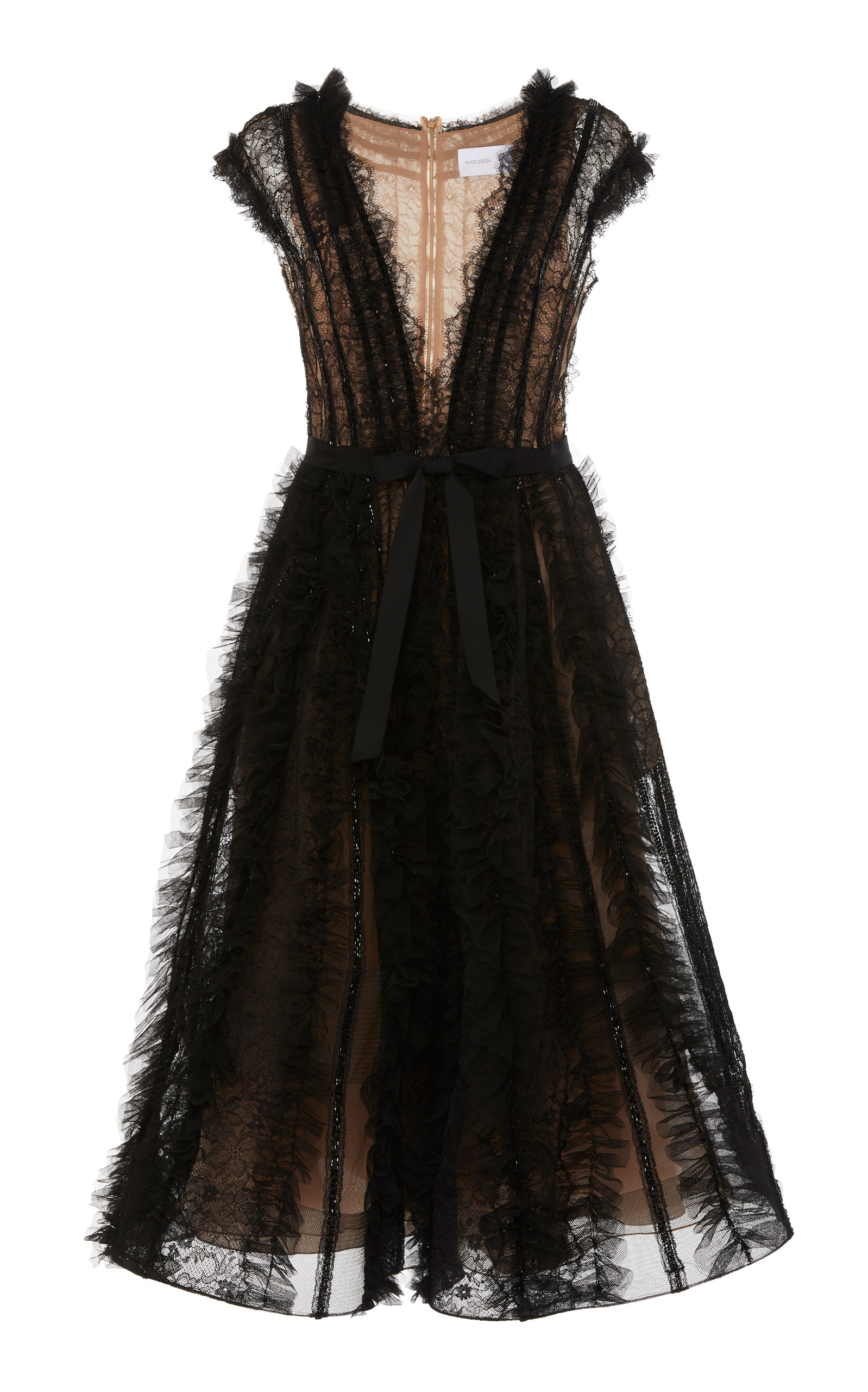 4c919e42f19 Marchesa Lace Tulle V-Neck Cocktail Dress In Black