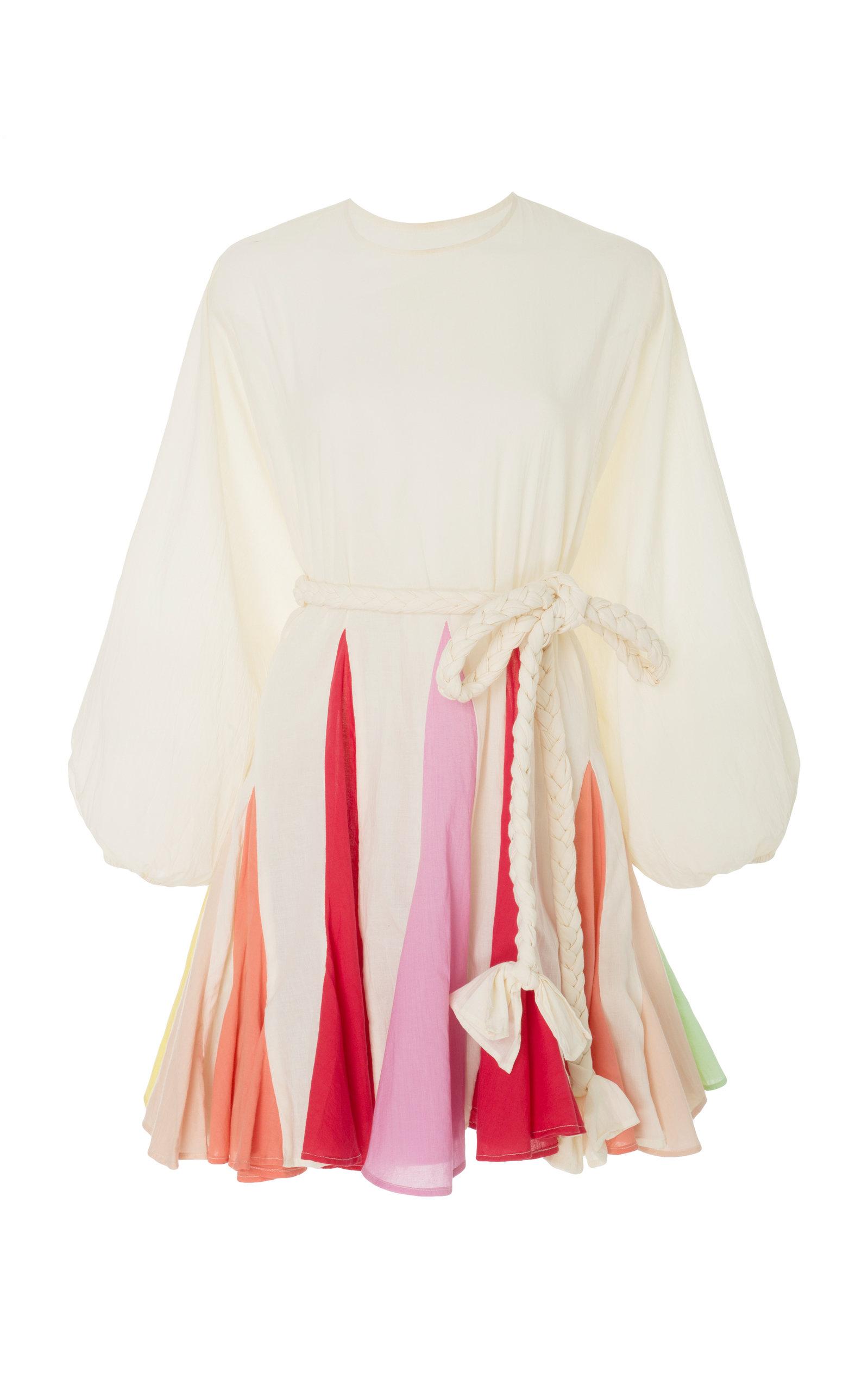 Rhode Resort Ella Belted Color-Block Cotton-Voile Mini Dress In Rainbow Color Block
