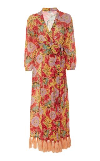 RHODE RESORT | Rhode Resort Lena Tasseled Floral-Print Cotton Wrap Dress | Goxip