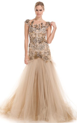 Medium marchesa nude embroidered illusion cap sleeve gown