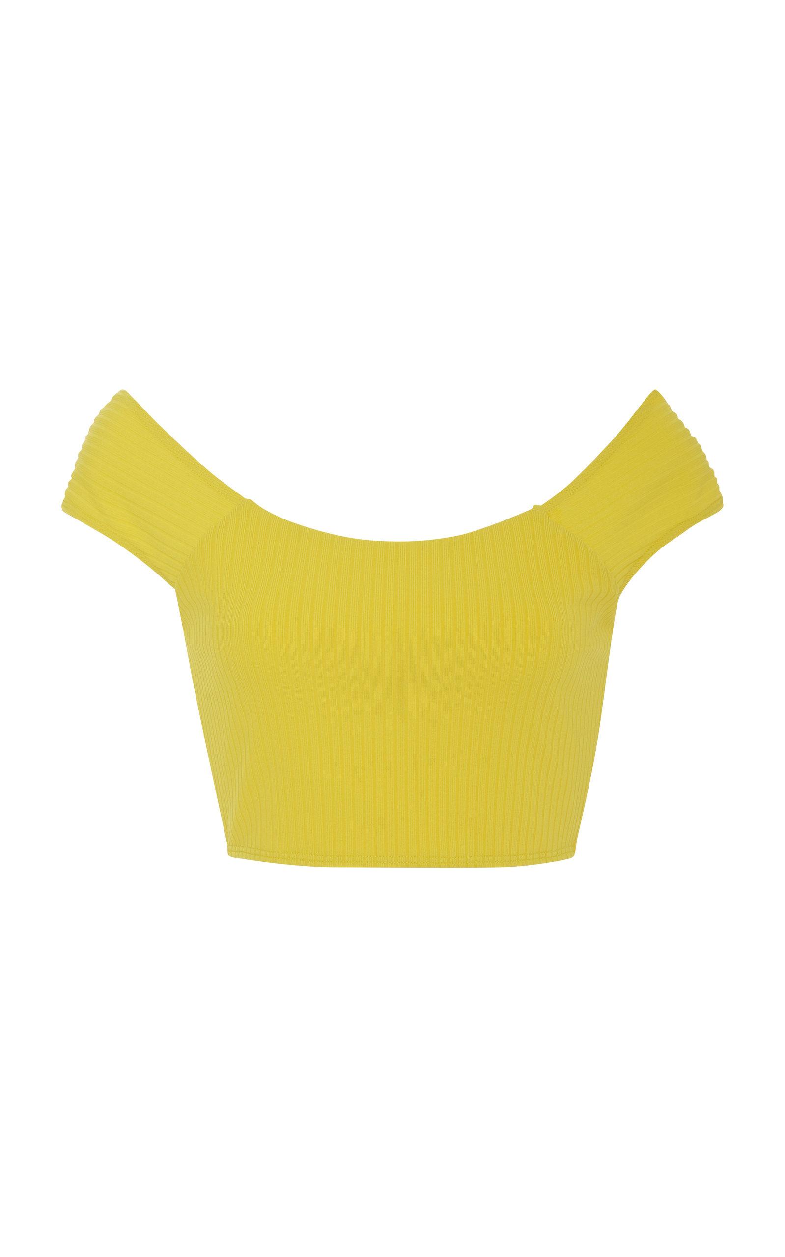 91259b52f2 Mara Hoffman Naomi Ribbed Bikini Top In Yellow