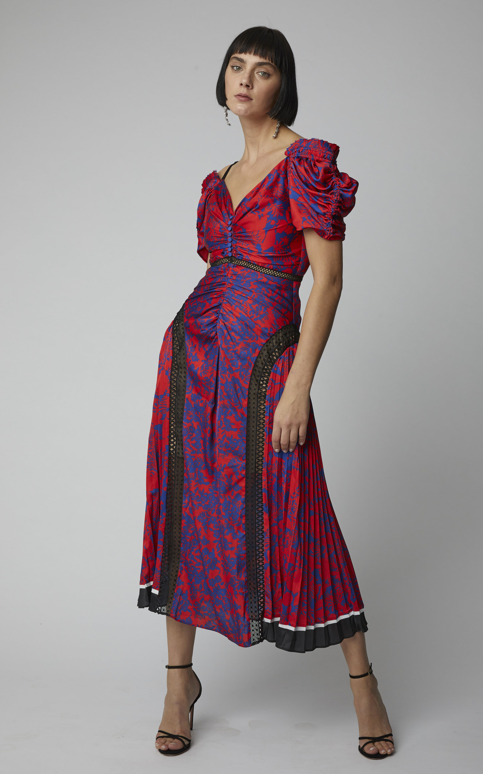 390897b82b6b Self PortraitCold-Shoulder Floral-Print Satin Midi Dress. CLOSE. Loading