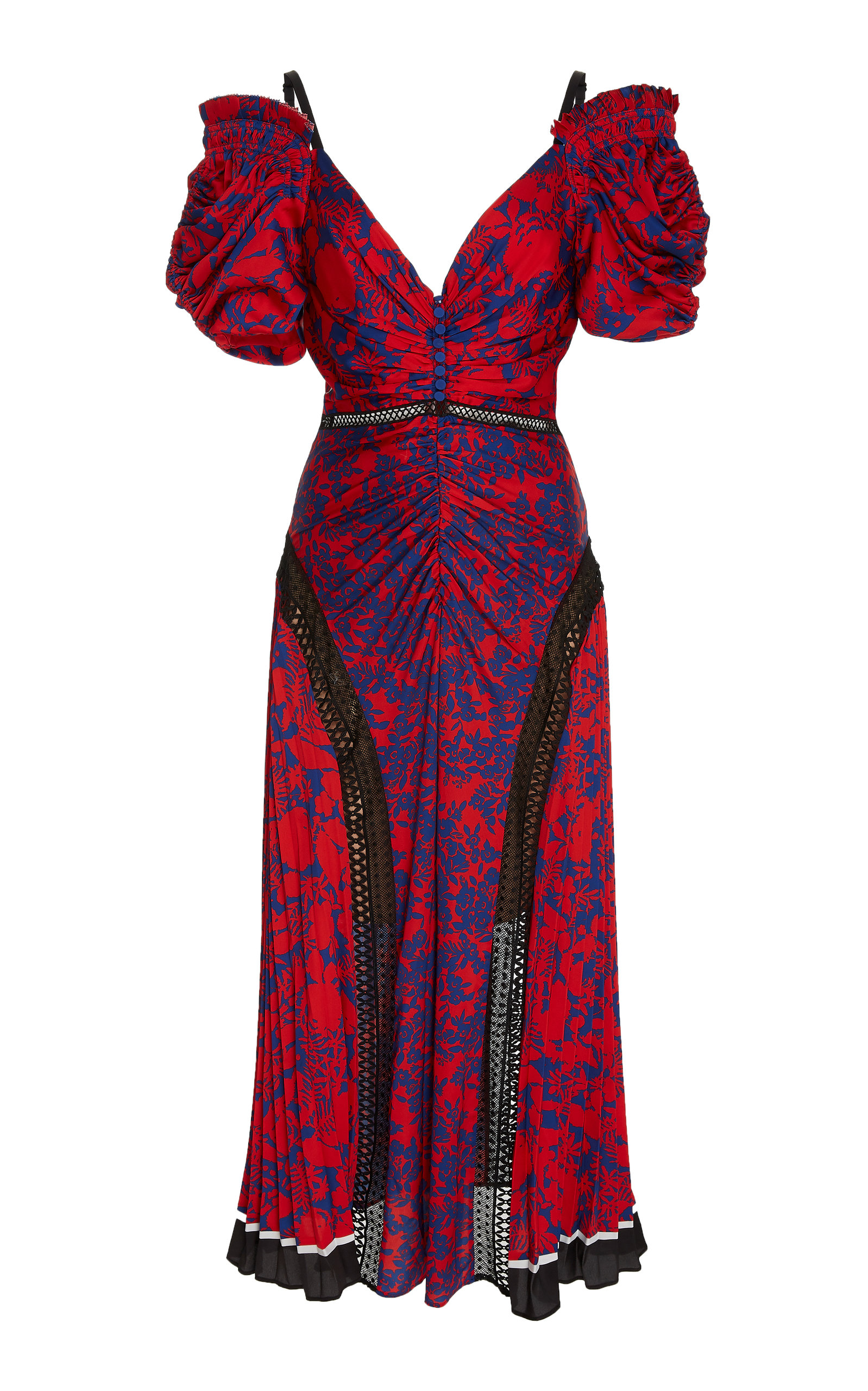 95cb9a0bc2a3 Cold-Shoulder Floral-Print Satin Midi Dress by Self Portrait | Moda ...