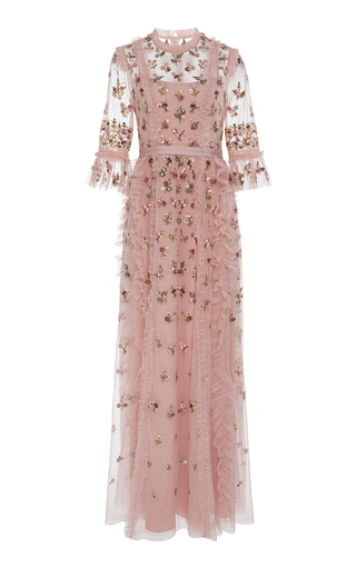 NEEDLE & THREAD | Needle & Thread Rococo Floral-Embroidered Tulle Gown | Goxip