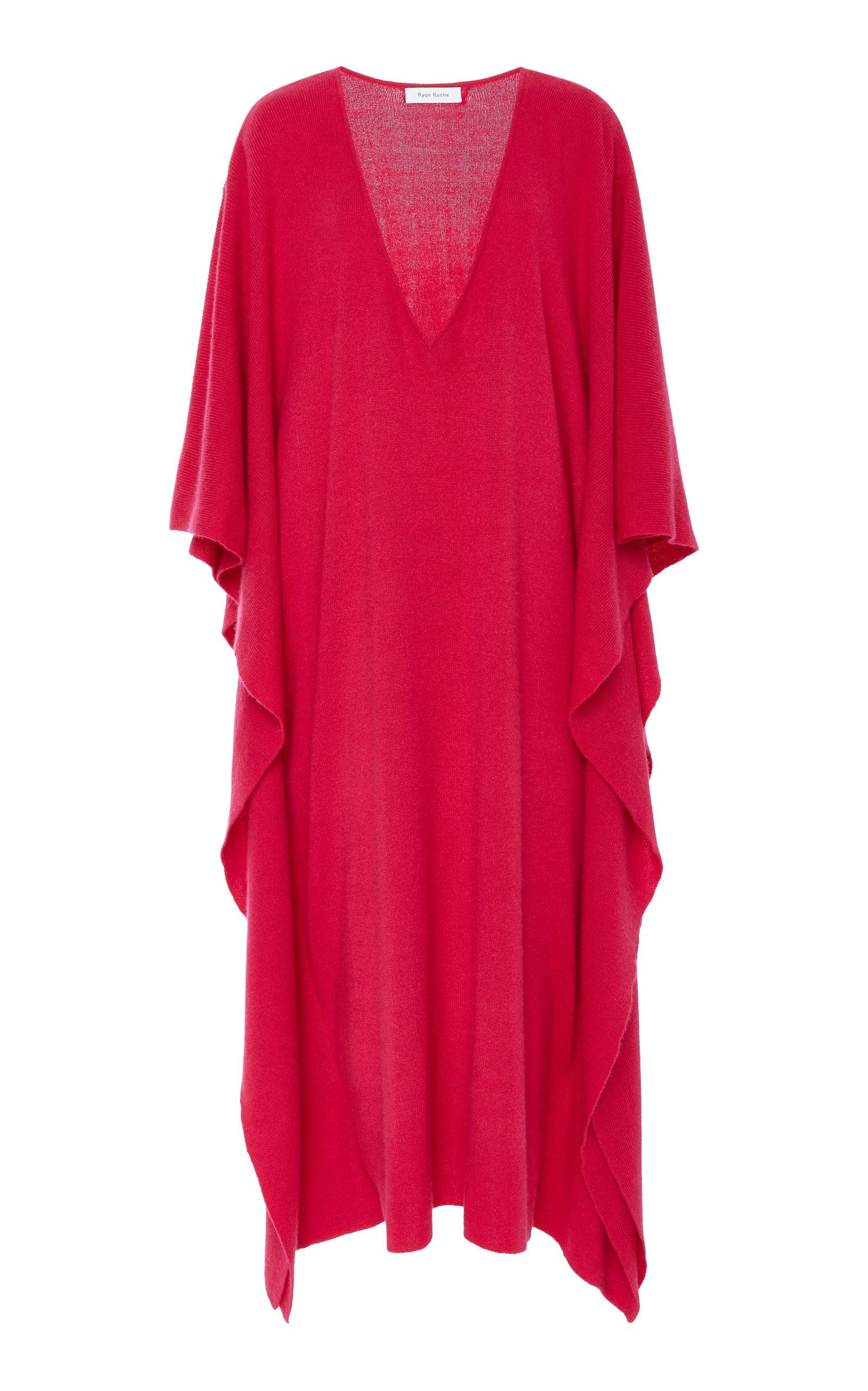 Heavy Knit Shawl V-Neck Dress Ryan Roche FI5eZiPi4