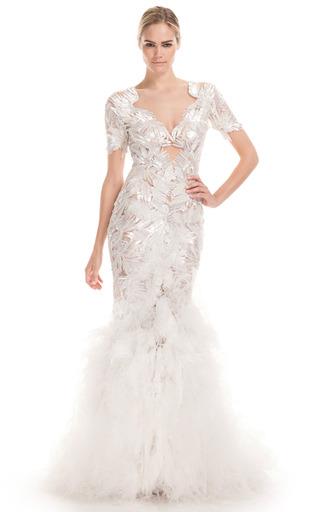 Medium marchesa white embroidered v neck column gown