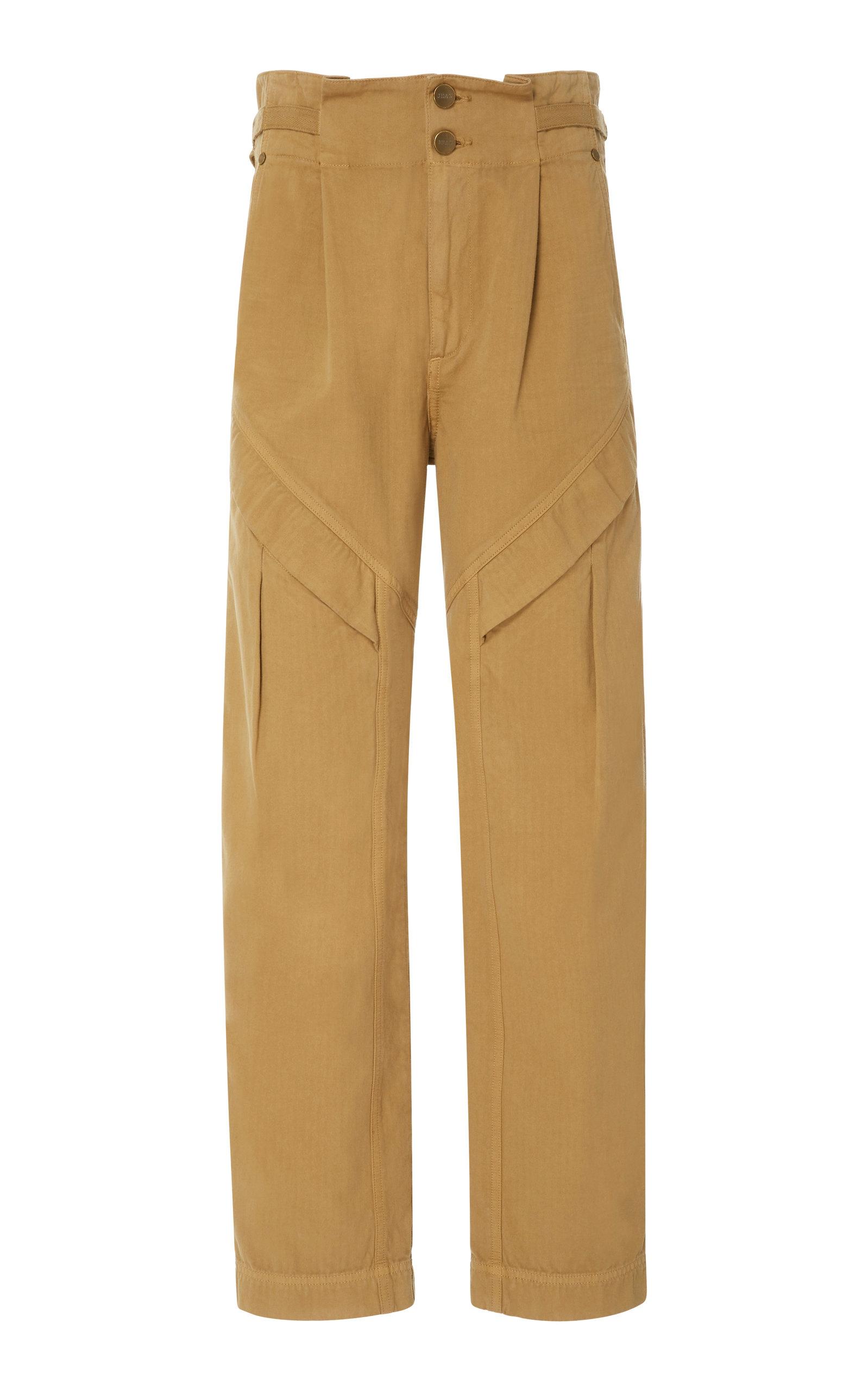 JEAN ATELIER Gemma Ruffled Cotton Straight-Leg Pant in Camel