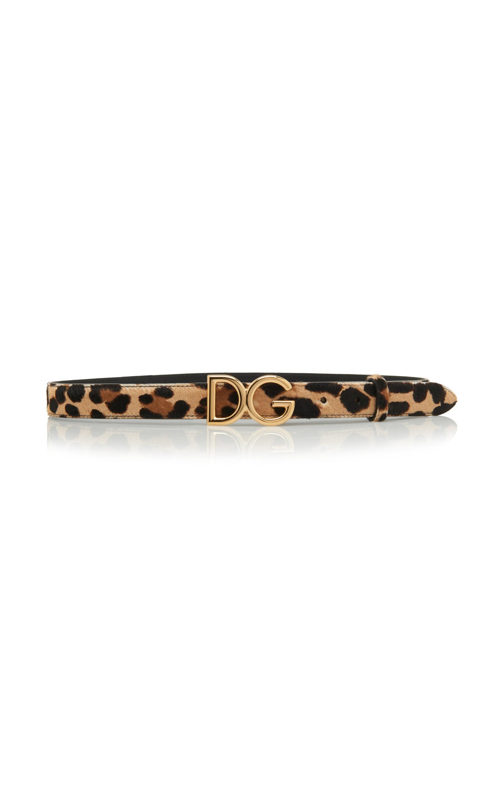 Leopard-Print Pony Hair Belt in Animal