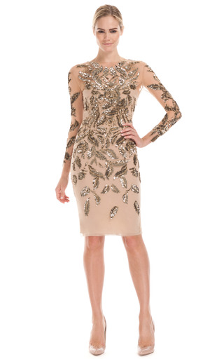 Medium marchesa nude embroidered illusion long sleeve dress