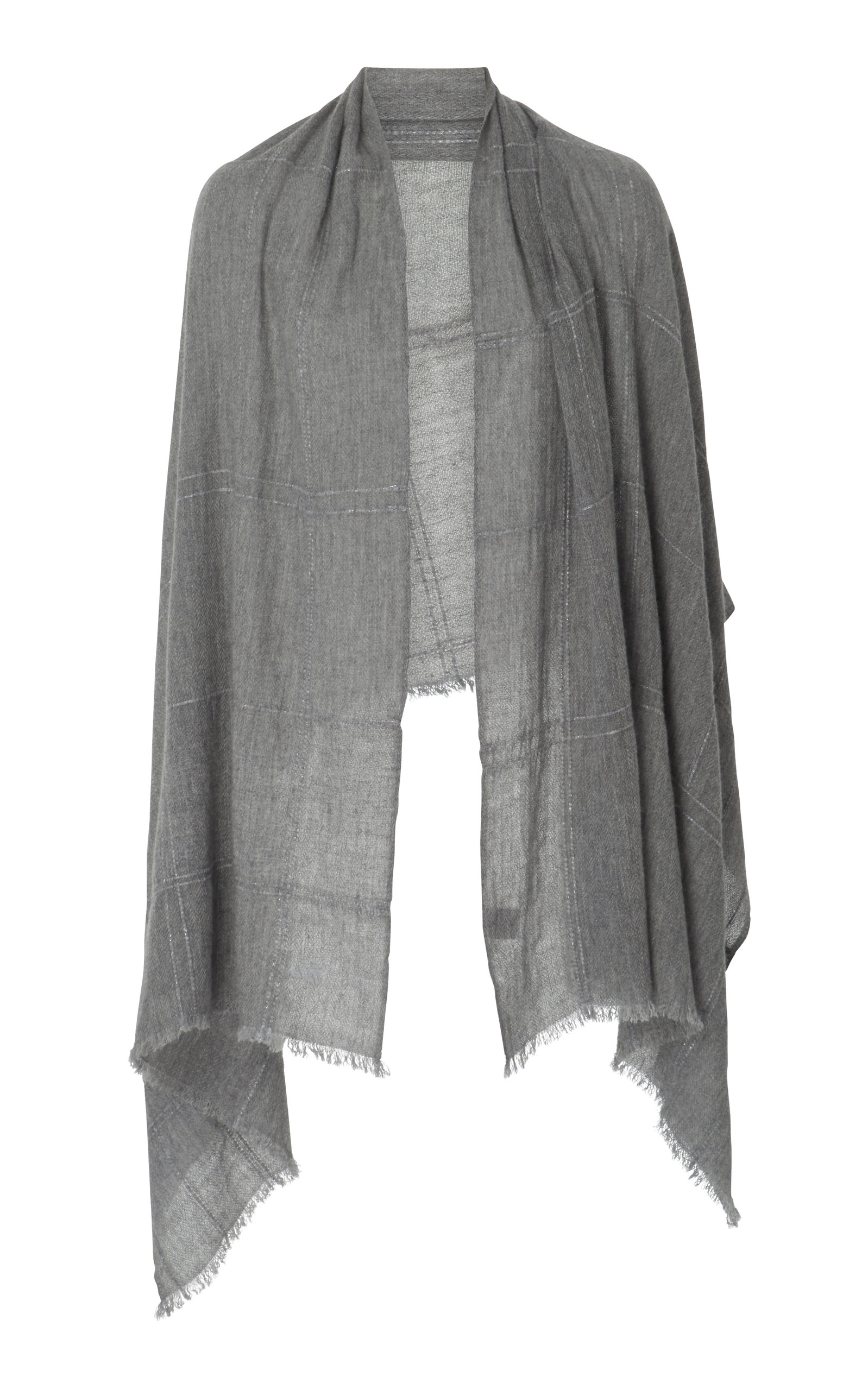LANIFICIO ARCA Woven Cashmere Scarf in Grey