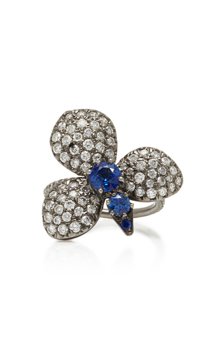 MONTSE ESTEVE | Montse Esteve 18K Oxidized Gold Diamond And Sapphire Ring | Goxip