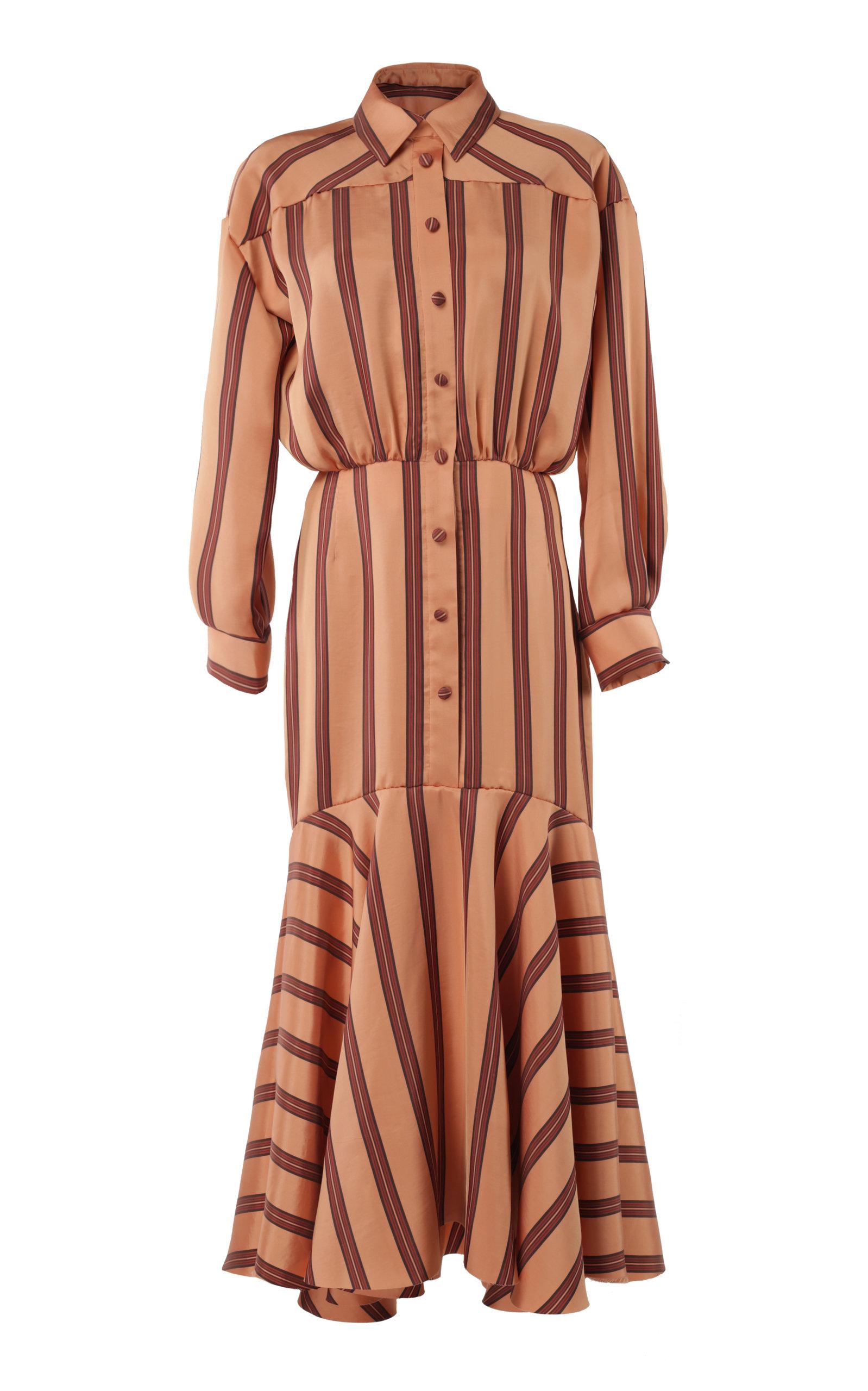 2d34aad4fd Lake Studio Striped Silk-Satin Midi Dress